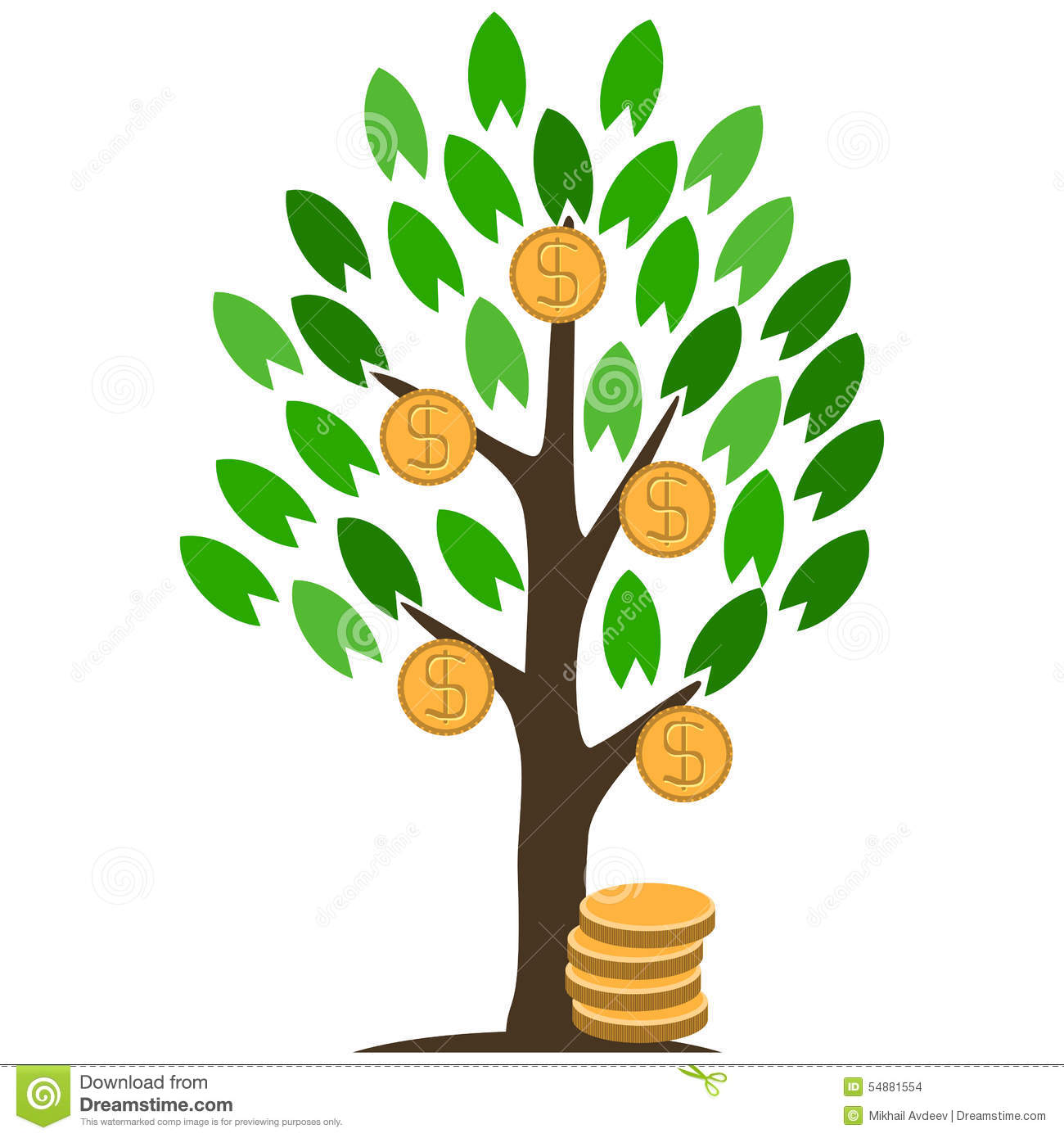 Money tree with coins. stock vector. Illustration of ...
