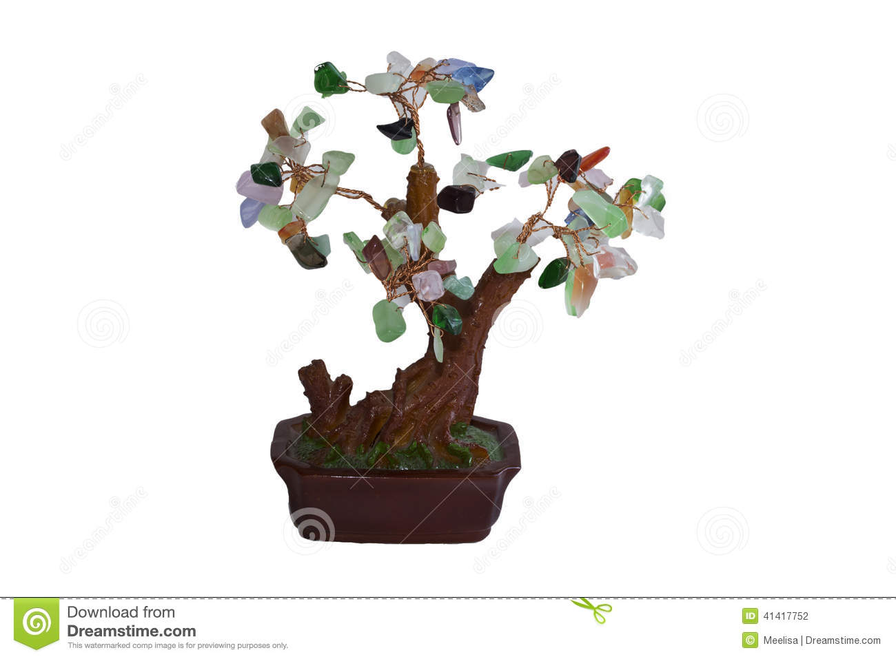 Money Tree In Feng Shui On A White Background Stock Photo