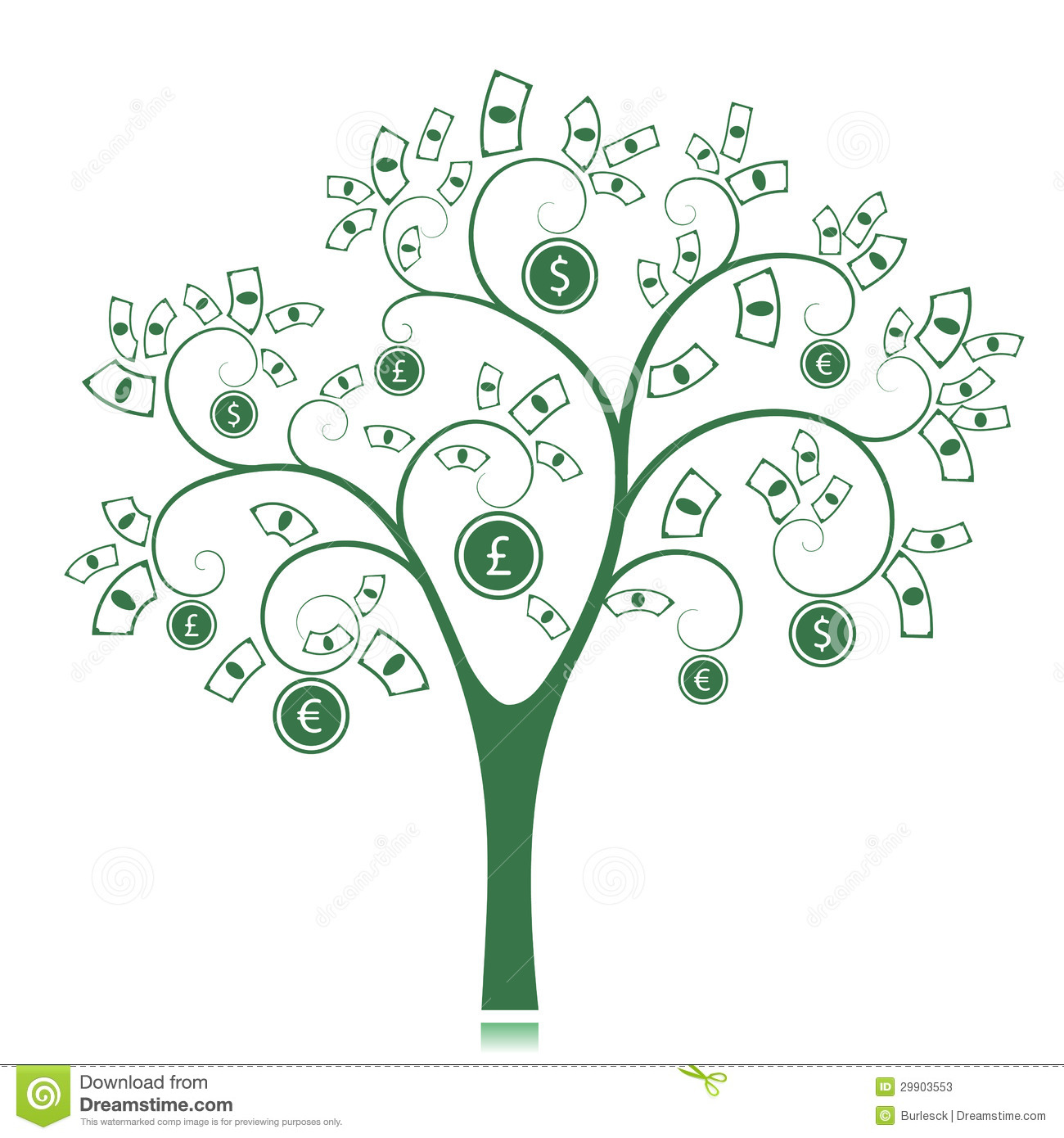 Money Tree isolated on White background. Vector Illustration.: dreamstime.com/stock-photos-money-tree-isolated-white-background...
