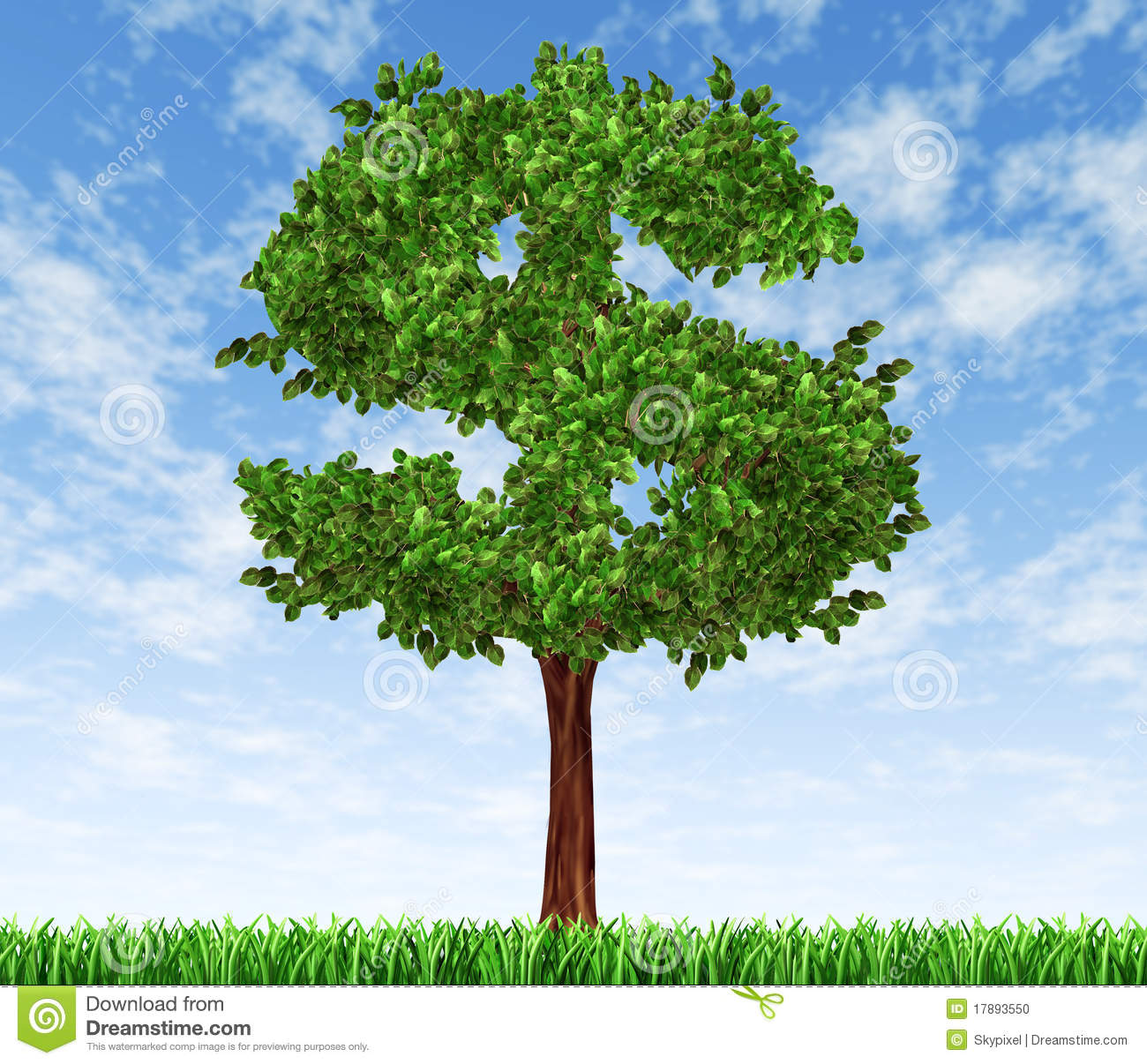 Finance Tree: Money Tree With Sky And Grass Investment Growth Co Stock