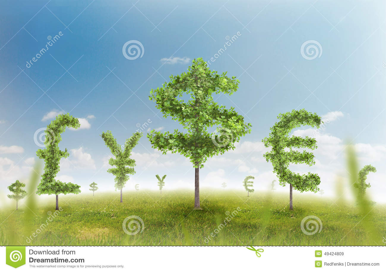 Money trees stock illustration image 49424809 for Natural grasses for landscaping