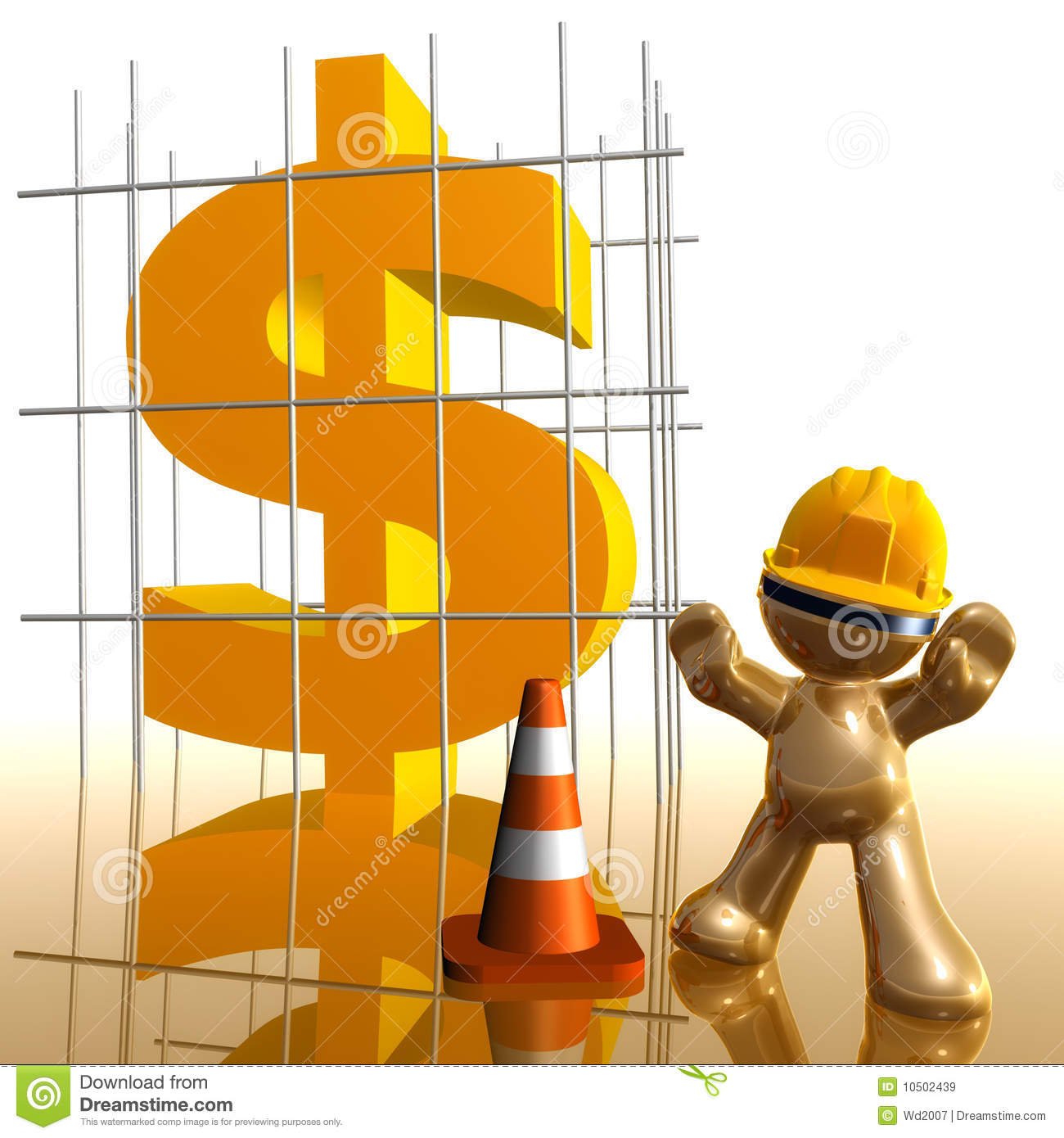 Money Under Construction Funny 3d Icon Stock Illustration
