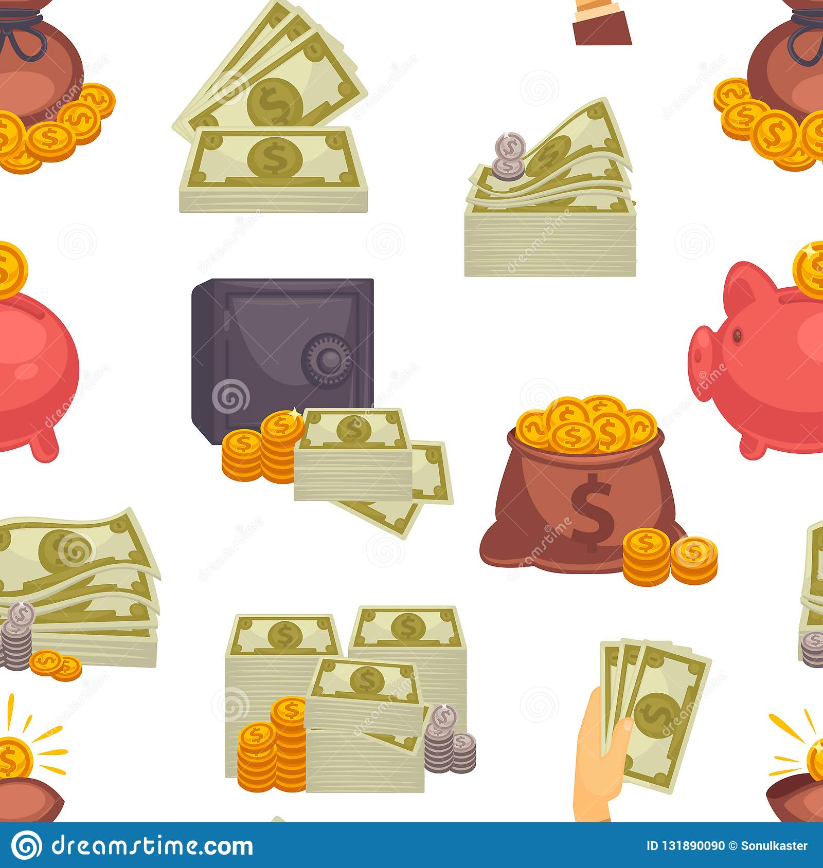 Money USD cash, American dollar banknotes and coins seamless pattern isolated on white background vector. Pig and savings of people, bag filled with treasure stock photo