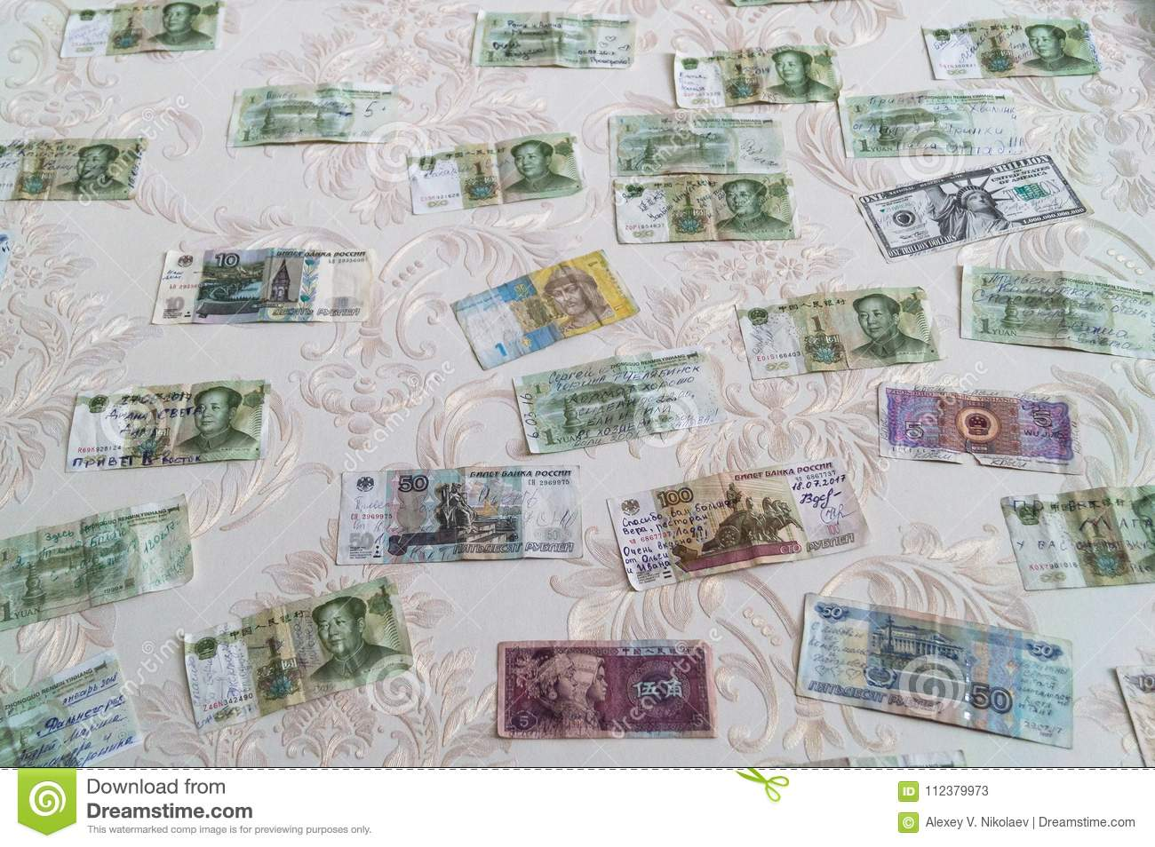 money on the wall gratitude of visitors editorial stock photo