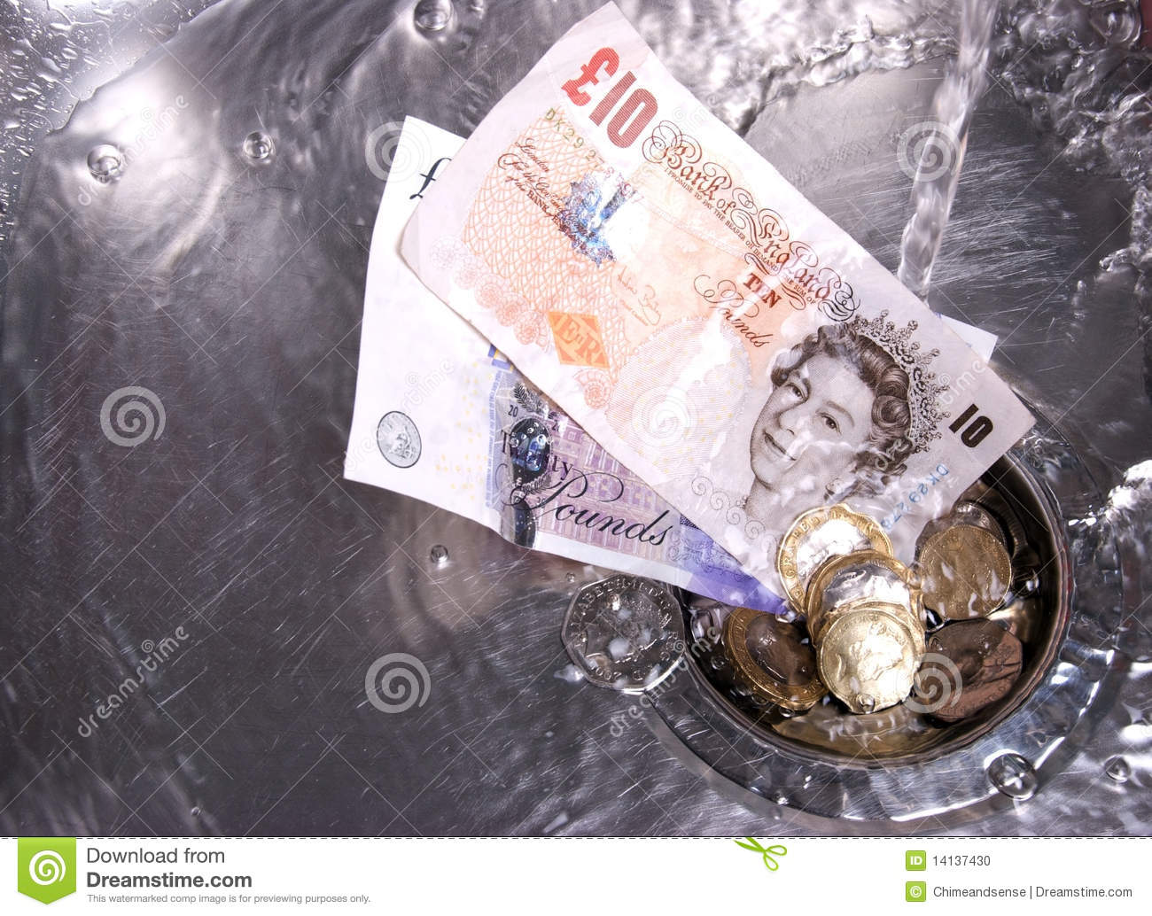 Money Washed Down The Drain Editorial Image Image 14137430