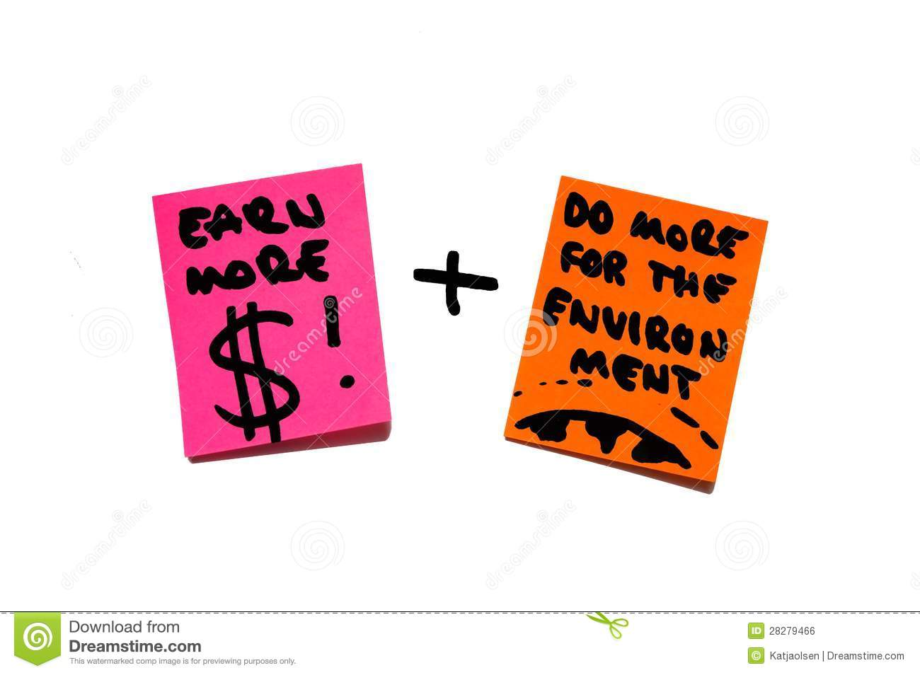 Money, wealth, economy versus environment, earth, responsibility. post it notes.