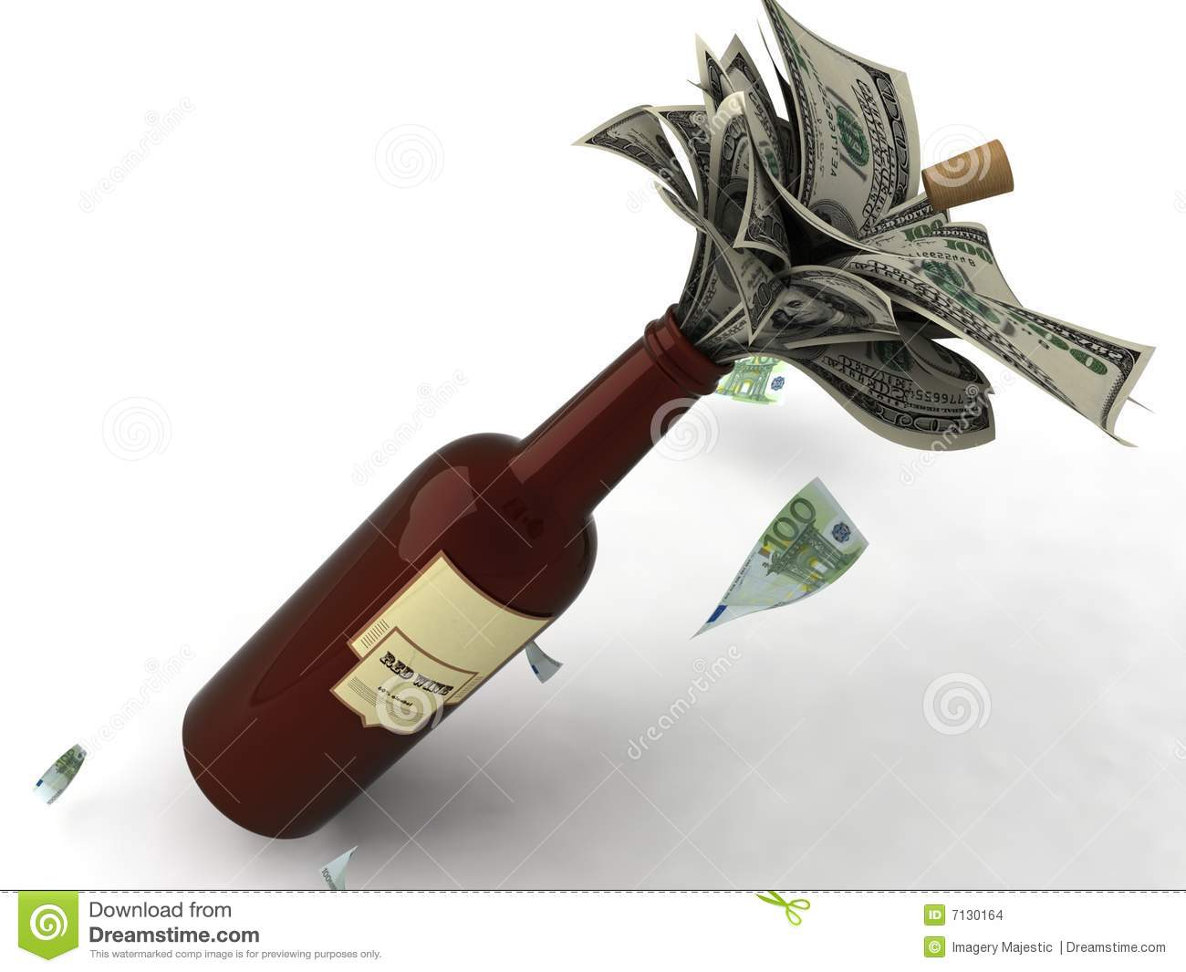 Three dimensional view of money in a wine bottle on an isolated ...