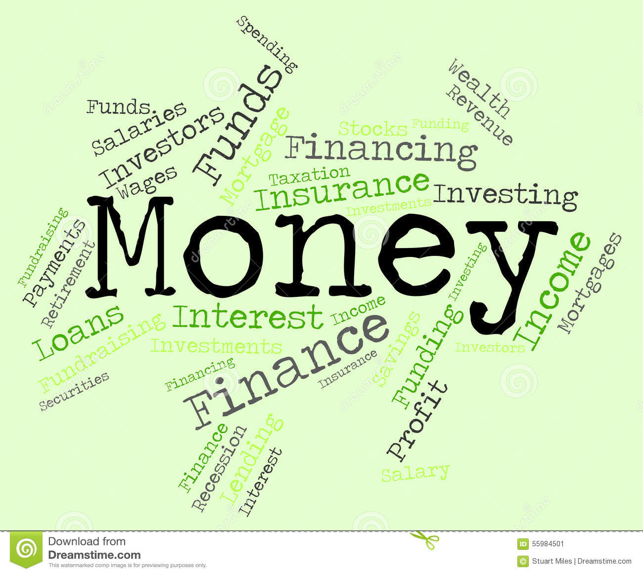 Finance Words: Money Word Means Wealthy Finances And Prosperity Stock