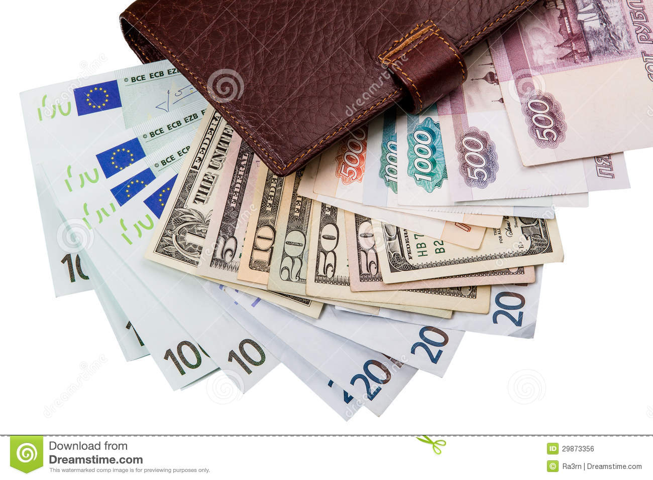 Dollars, euros, russian Robles in the wallet
