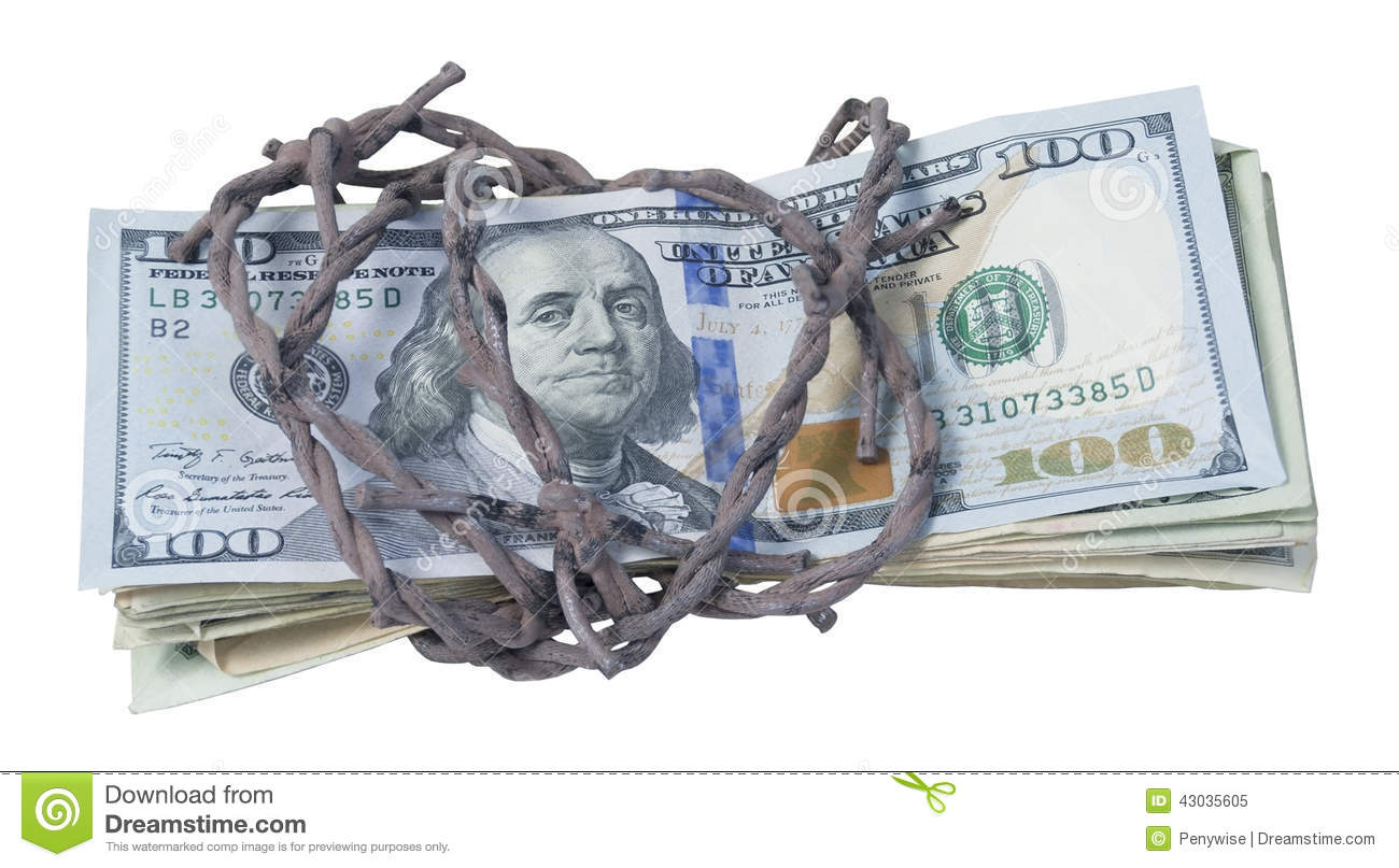 Money Wrapped In Barbed Wire Stock Image Of Metal Power Wiring Without Id