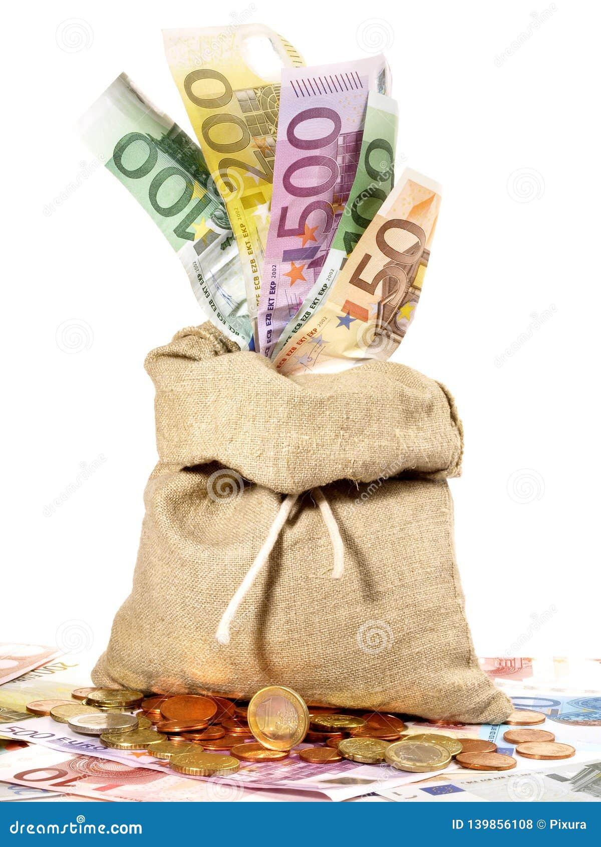 Moneybag met Bankbiljetten en Muntstukken