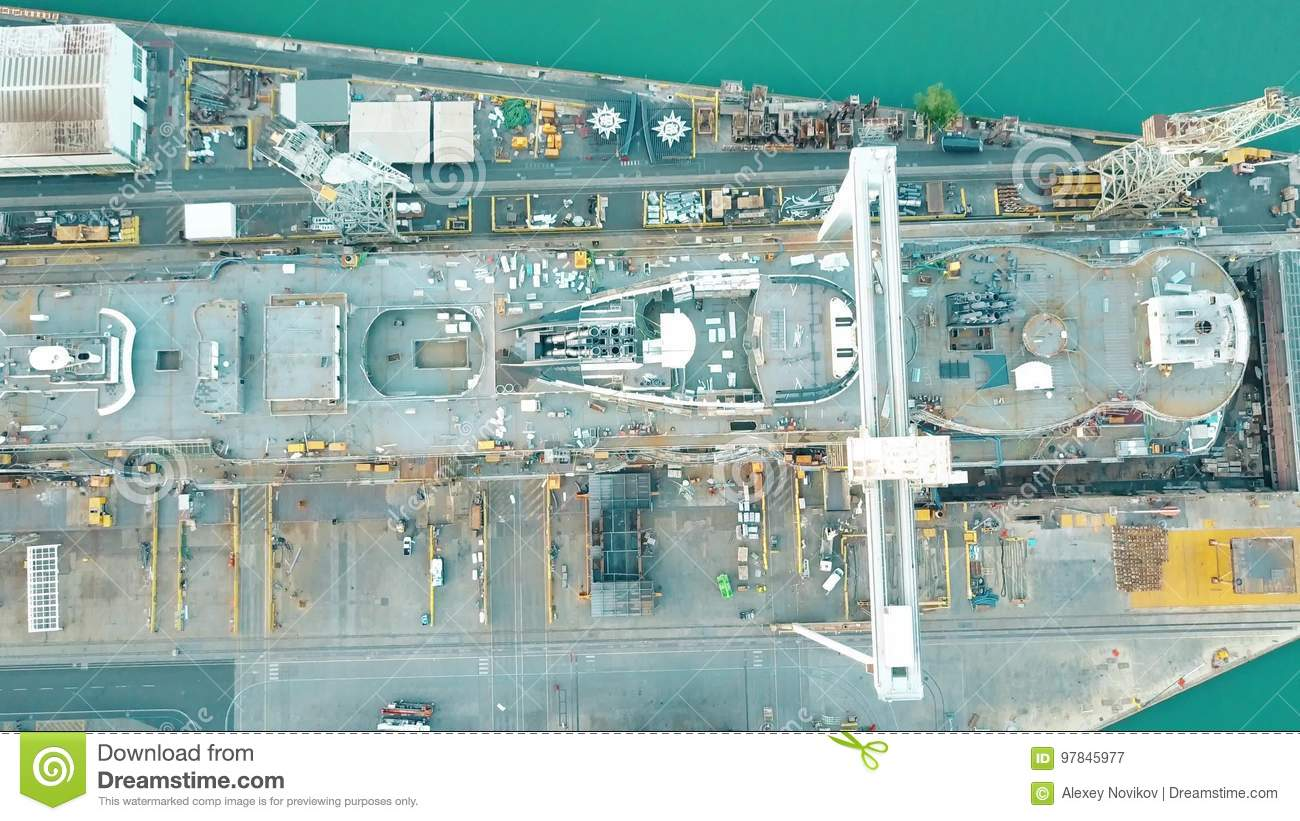 MONFALCONE, ITALY - AUGUST 9, 2017. Aerial Top Down View ...