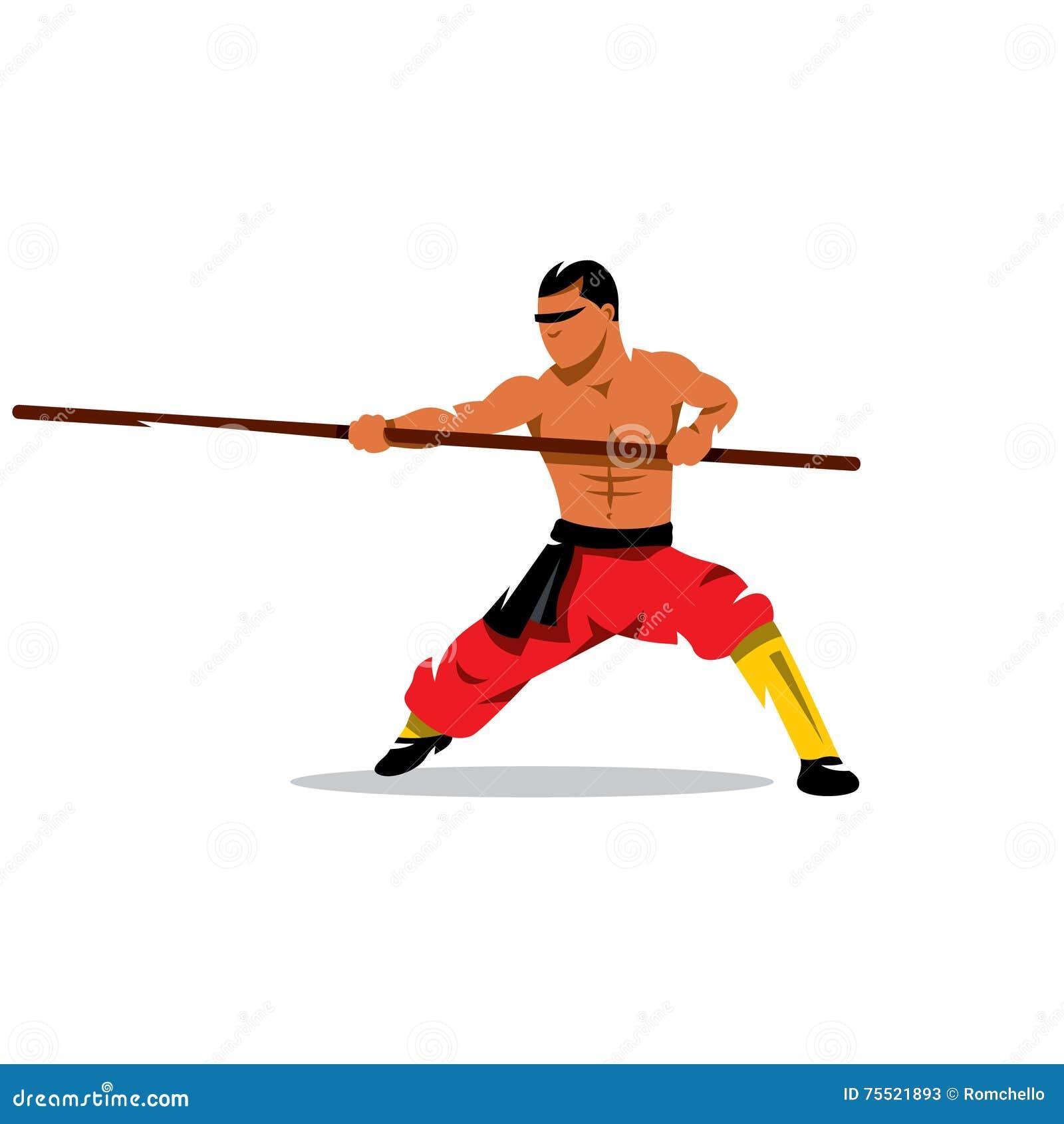 Monge De Shaolin Com Seu Pessoal Ilustracao Dos Desenhos Animados