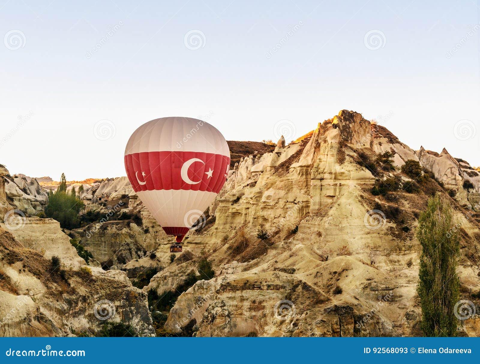 Mongolfiera che sorvola valle di mattina Cappadocia La Turchia