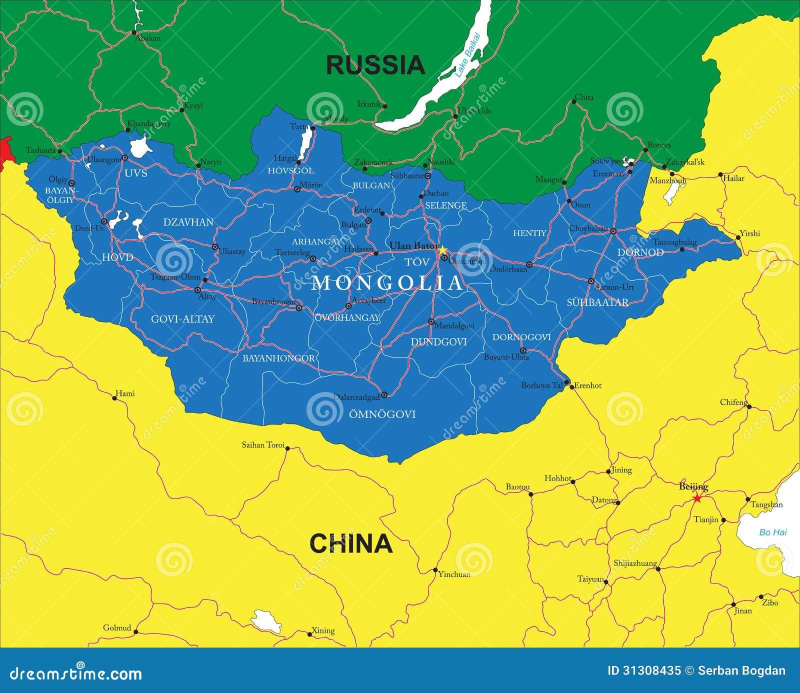 Mongolia map stock vector illustration of nation baikal 31308435 mongolia map publicscrutiny Gallery