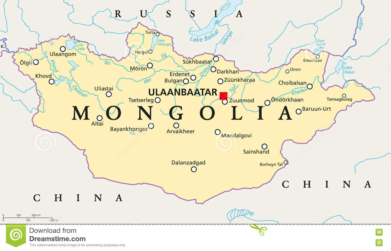 Mongolia Political Map stock vector. Illustration of geography ... on