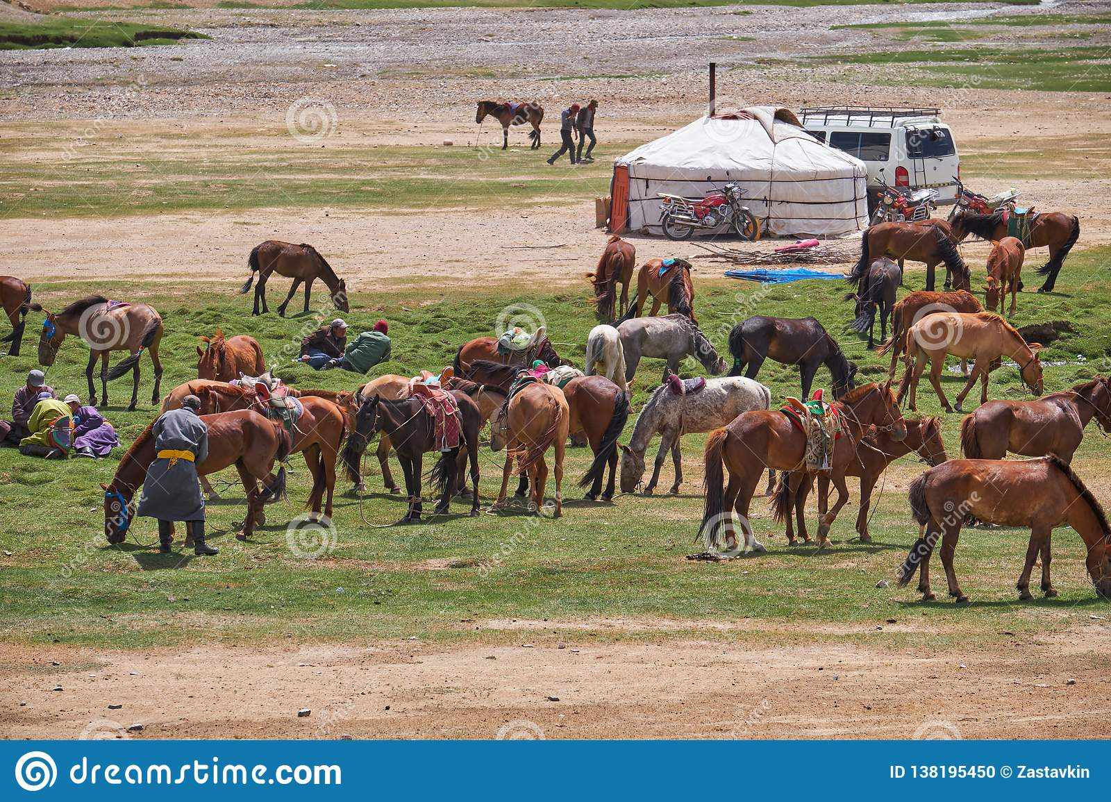 mongolian-nomad-camp-horses-car-near-tra