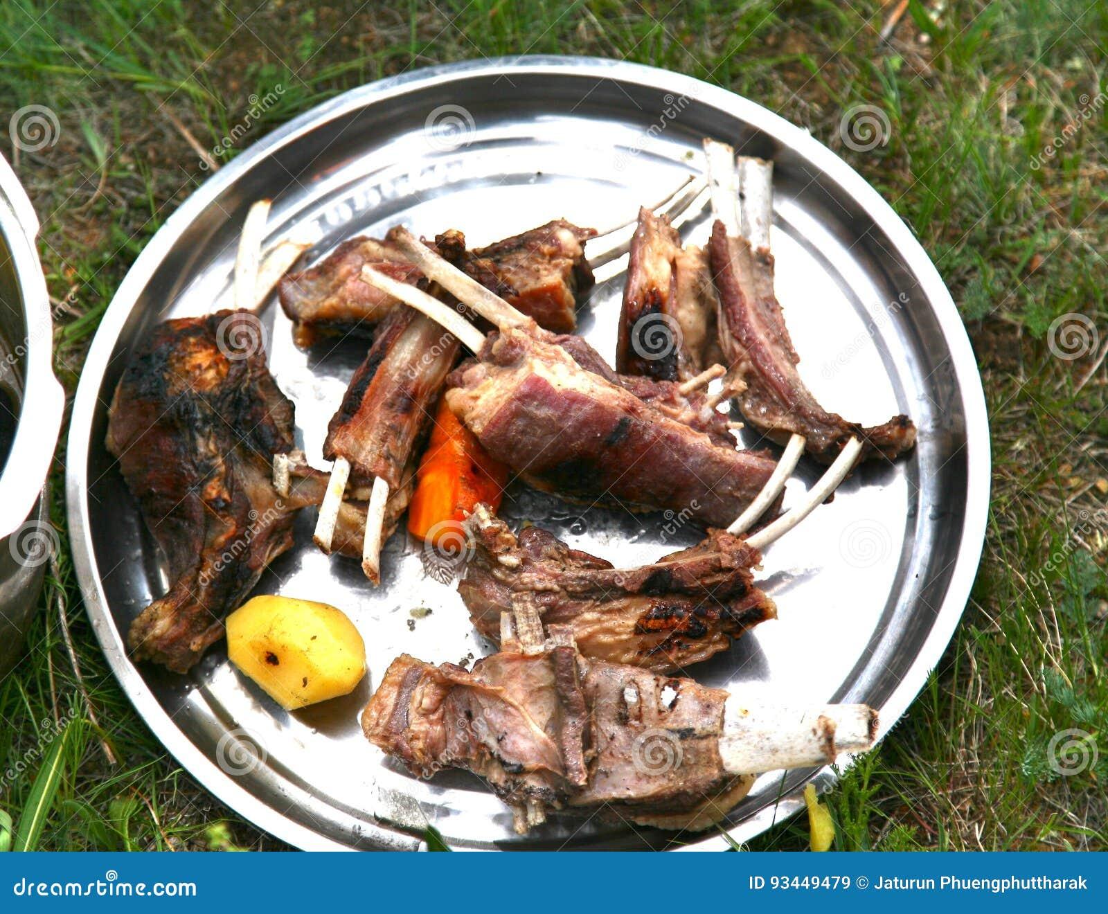 Mongolian traditional food in Gorkhi-Terelj National Park at Ulaanbaatar , Mongolia