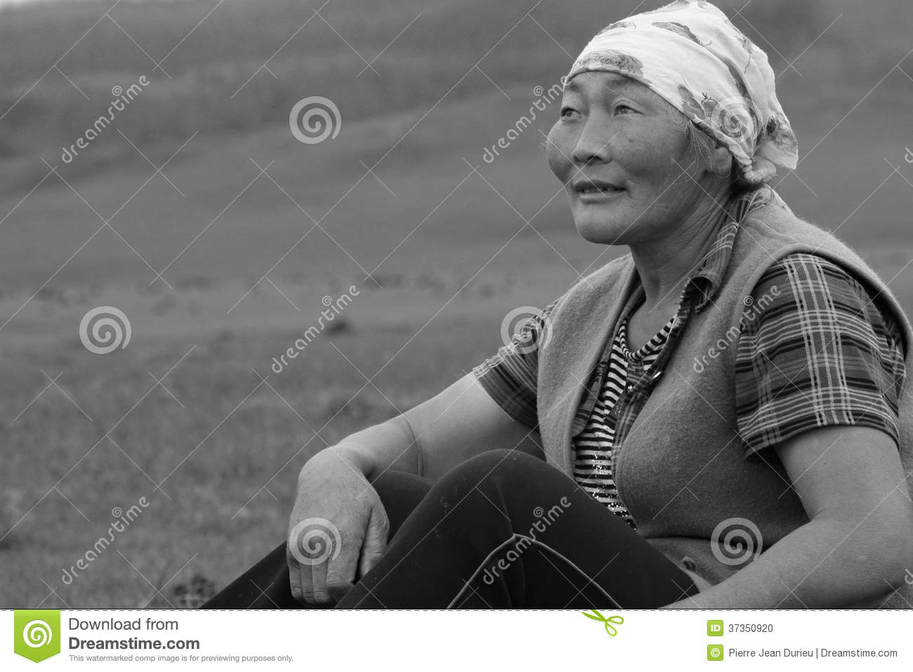 Mongolian Woman (Black & White) Editorial Image - Image ...