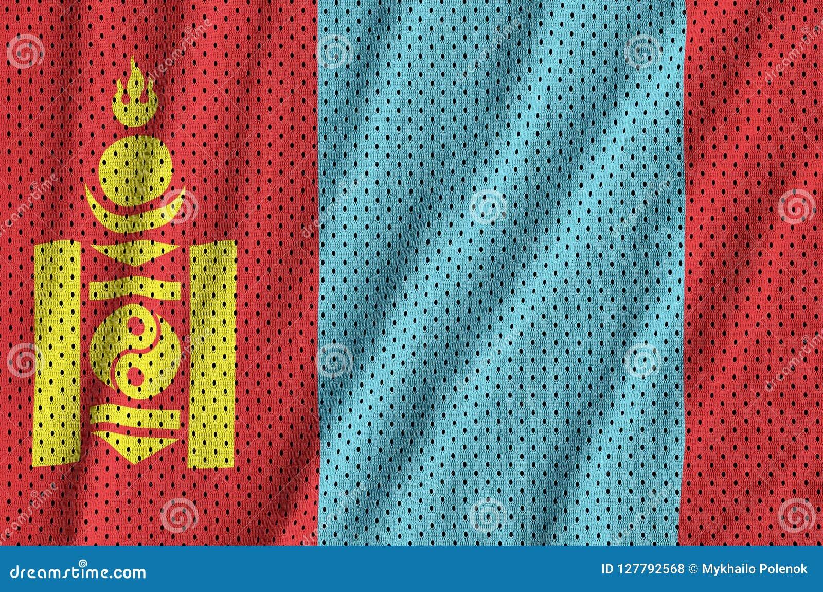 Mongoliet flagga som skrivs ut på en fabri för ingrepp för polyesternylonsportswear