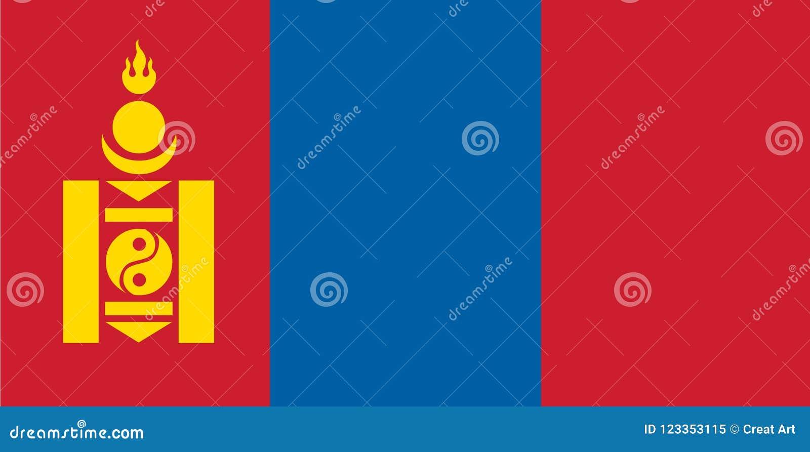 Mongoliet flaggavektor Illustration av den Mongoliet flaggan