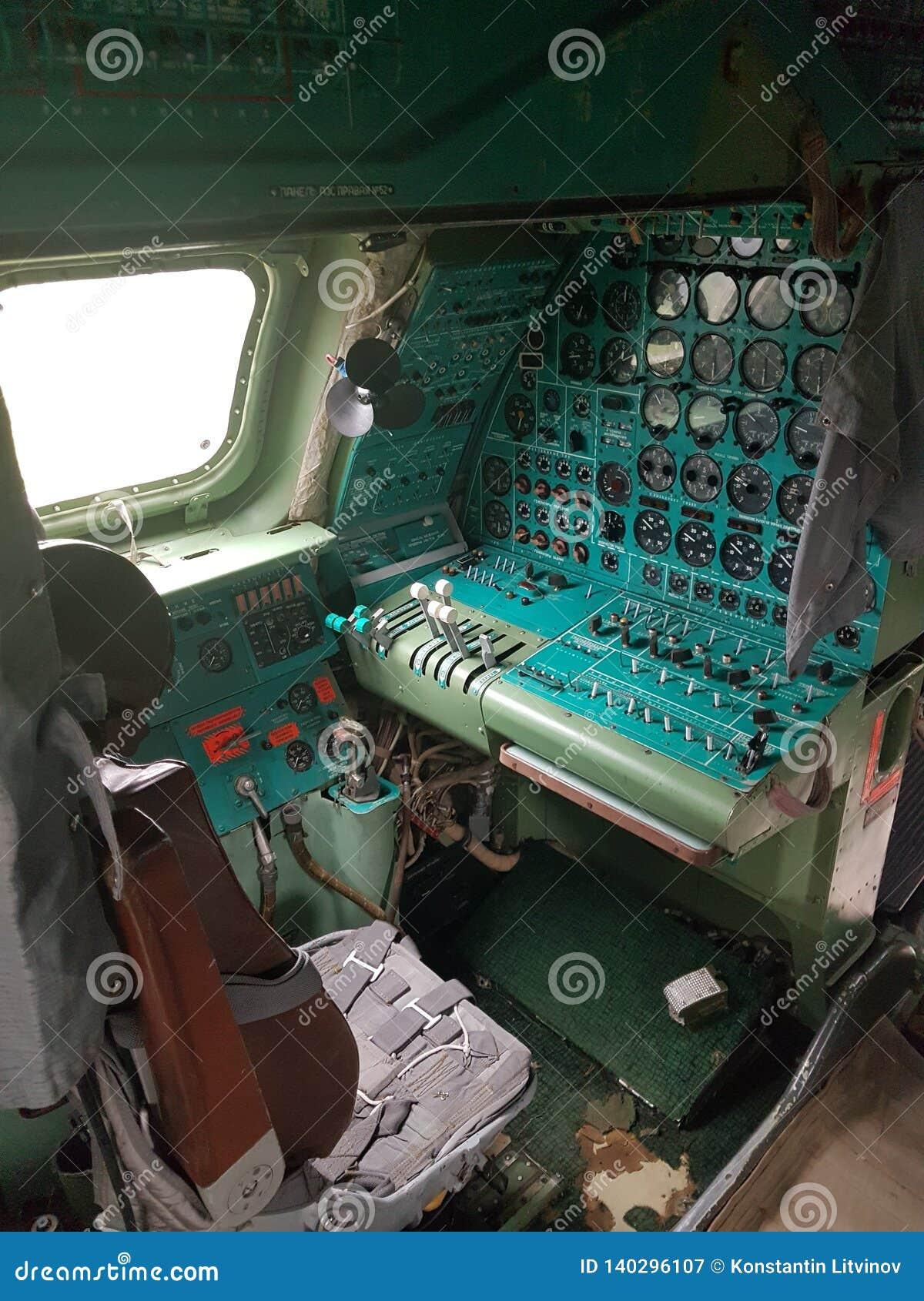 Monino, Rusland - 08 08 2018: De vliegtuigen van het cockpitgevecht van bombardirovshik
