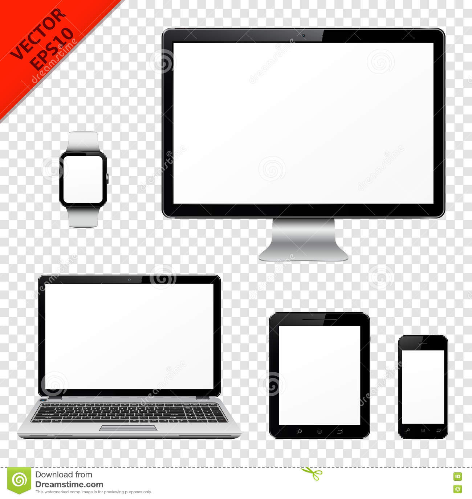 Moniteur d ordinateur, ordinateur portable, PC de comprimé, téléphone portable et montre intelligente avec l écran vide