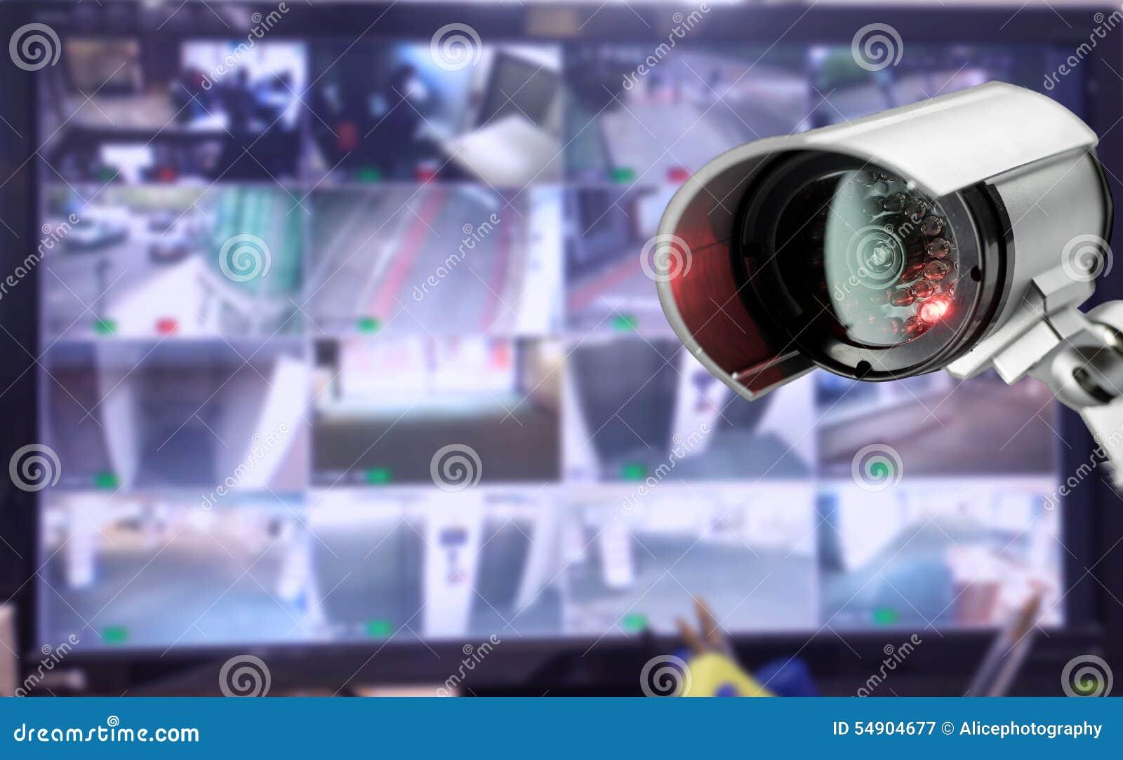 Moniteur de caméra de sécurité de télévision en circuit fermé dans l immeuble de bureaux