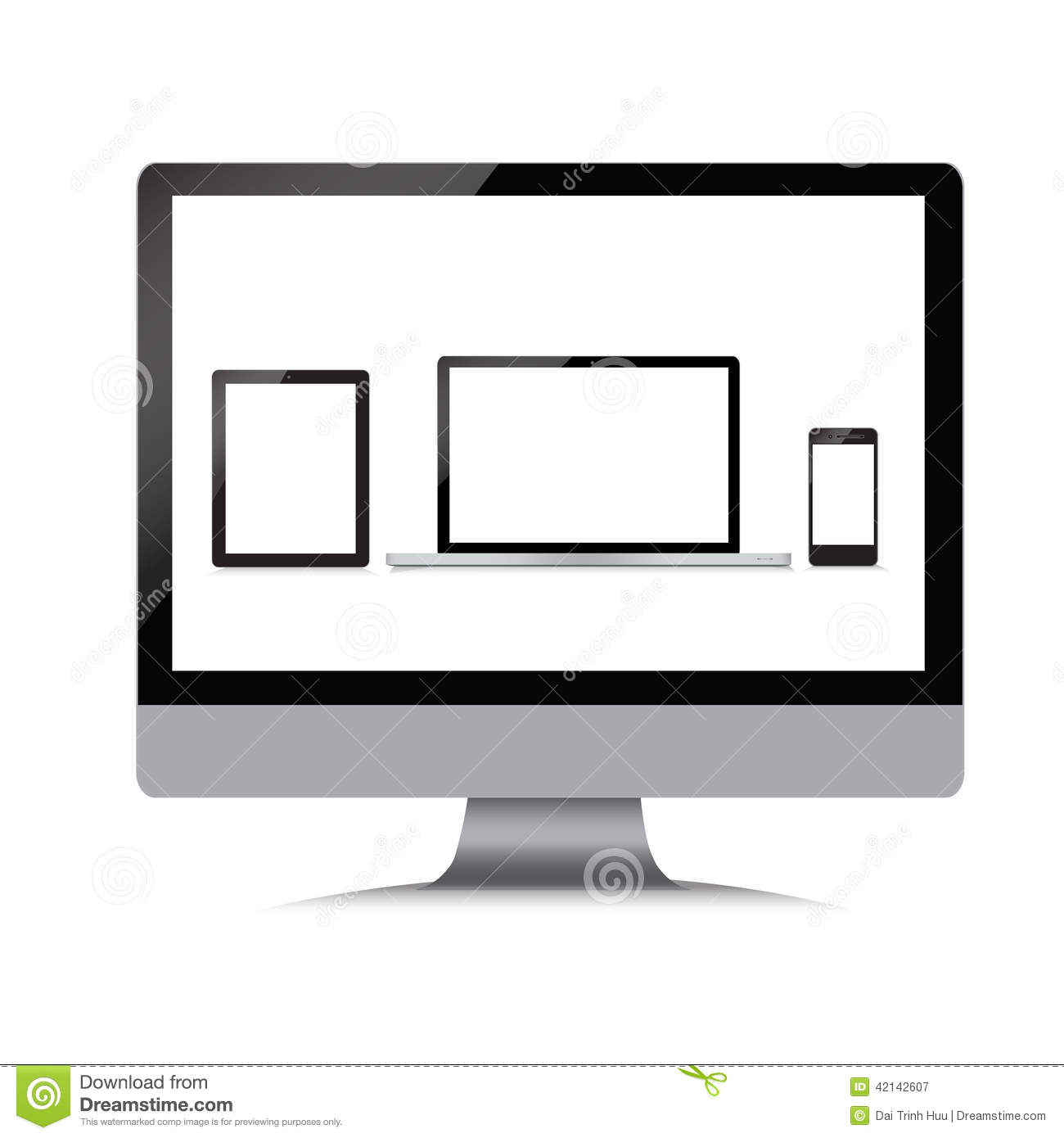 moniteur ordinateur portable t l phone comprim sur un blanc illustration de vecteur image. Black Bedroom Furniture Sets. Home Design Ideas