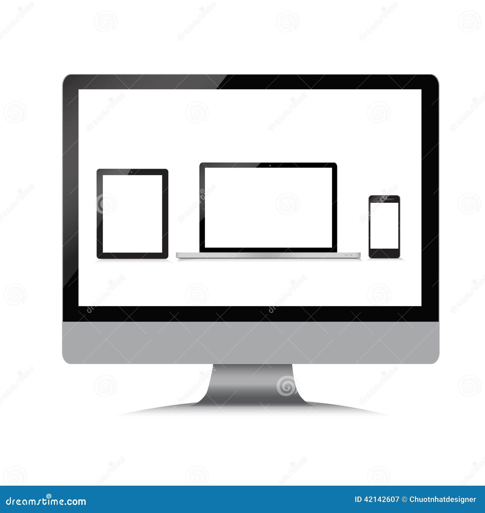 moniteur ordinateur portable t l phone comprim sur un blanc illustration de vecteur image. Black Bedroom Furniture Sets. Home Design Ideas