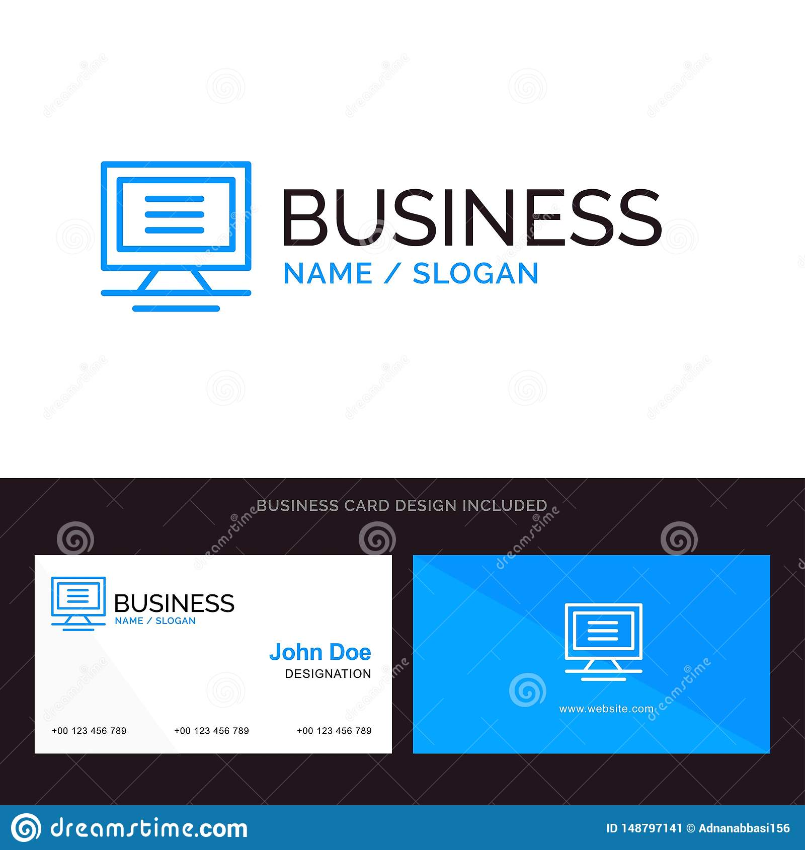 Monitor, Computer, Hardware Blue Business logo and Business Card Template. Front and Back Design