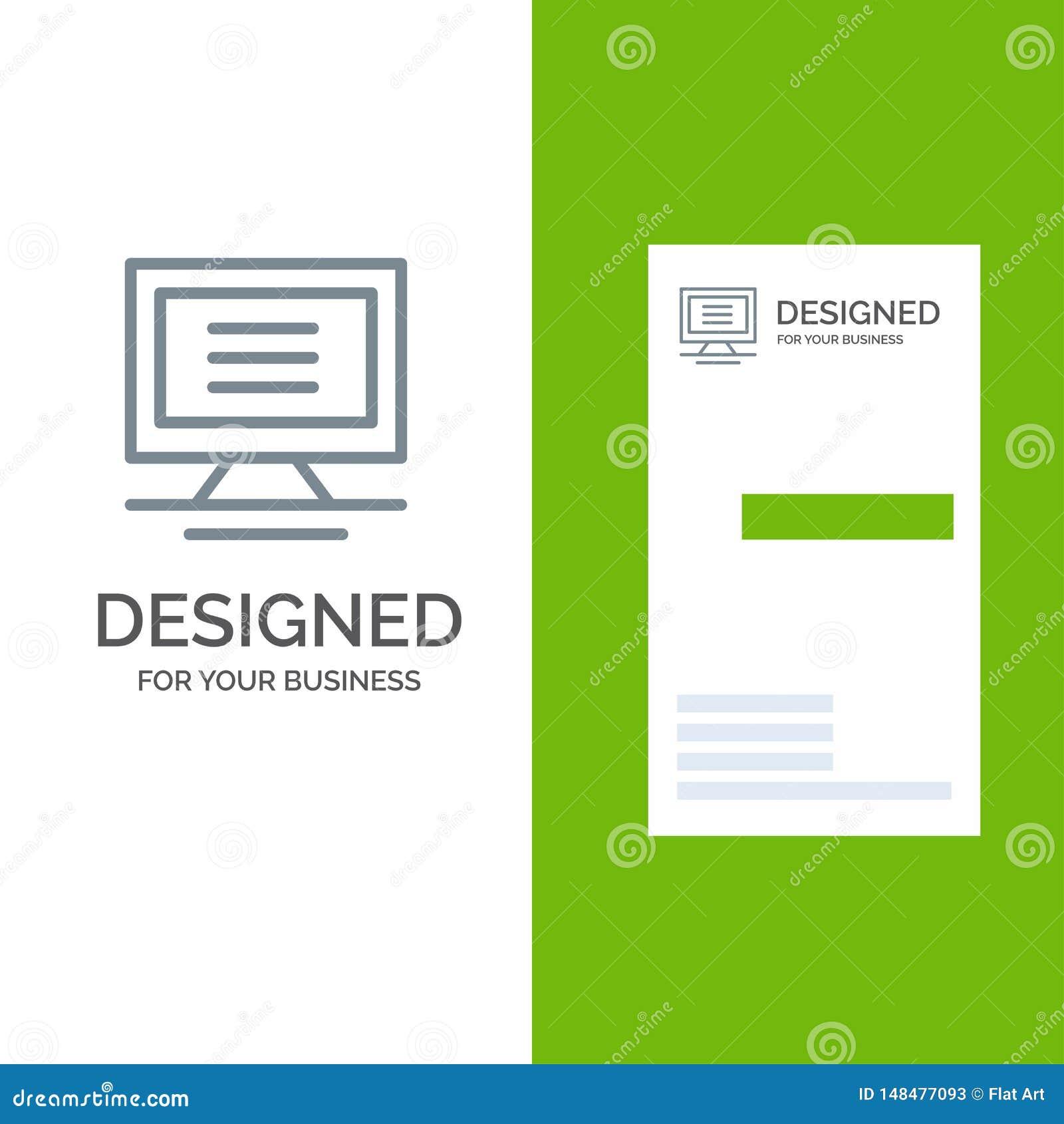 Monitor, Computer, Hardware Grey Logo Design und Visitenkarte-Schablone