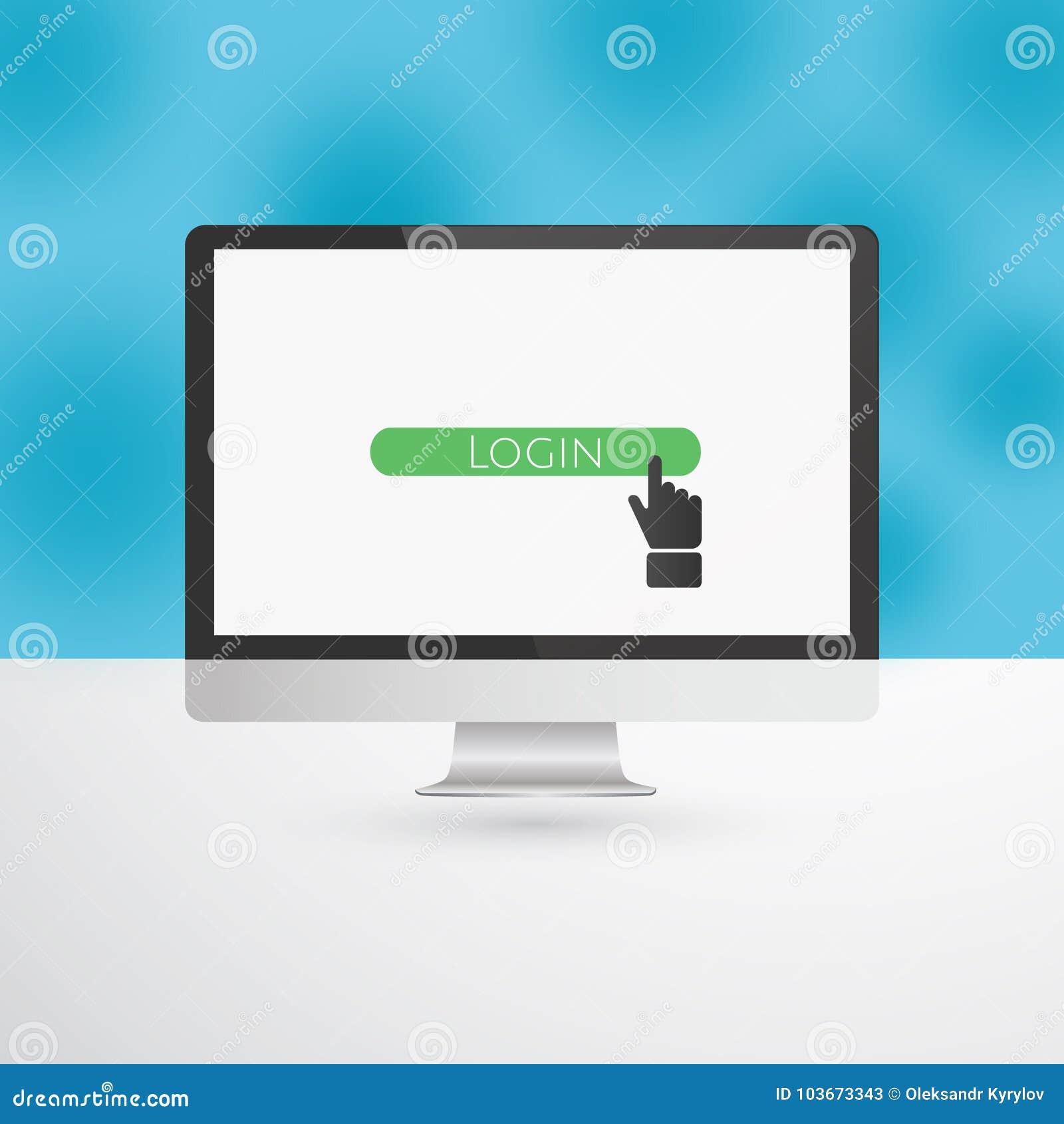 Monitor de computadora con el botón del inicio de sesión y el cursor verdes de la mano