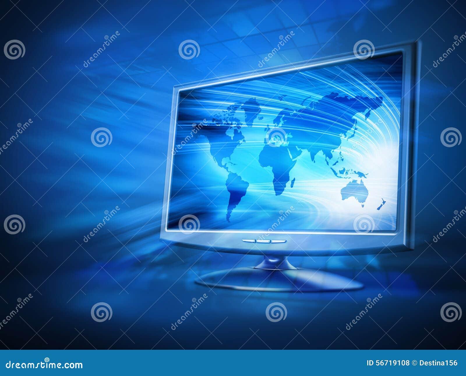 Monitor de computadora con el fondo azul de la tierra en for Fondos de computadora en 3d