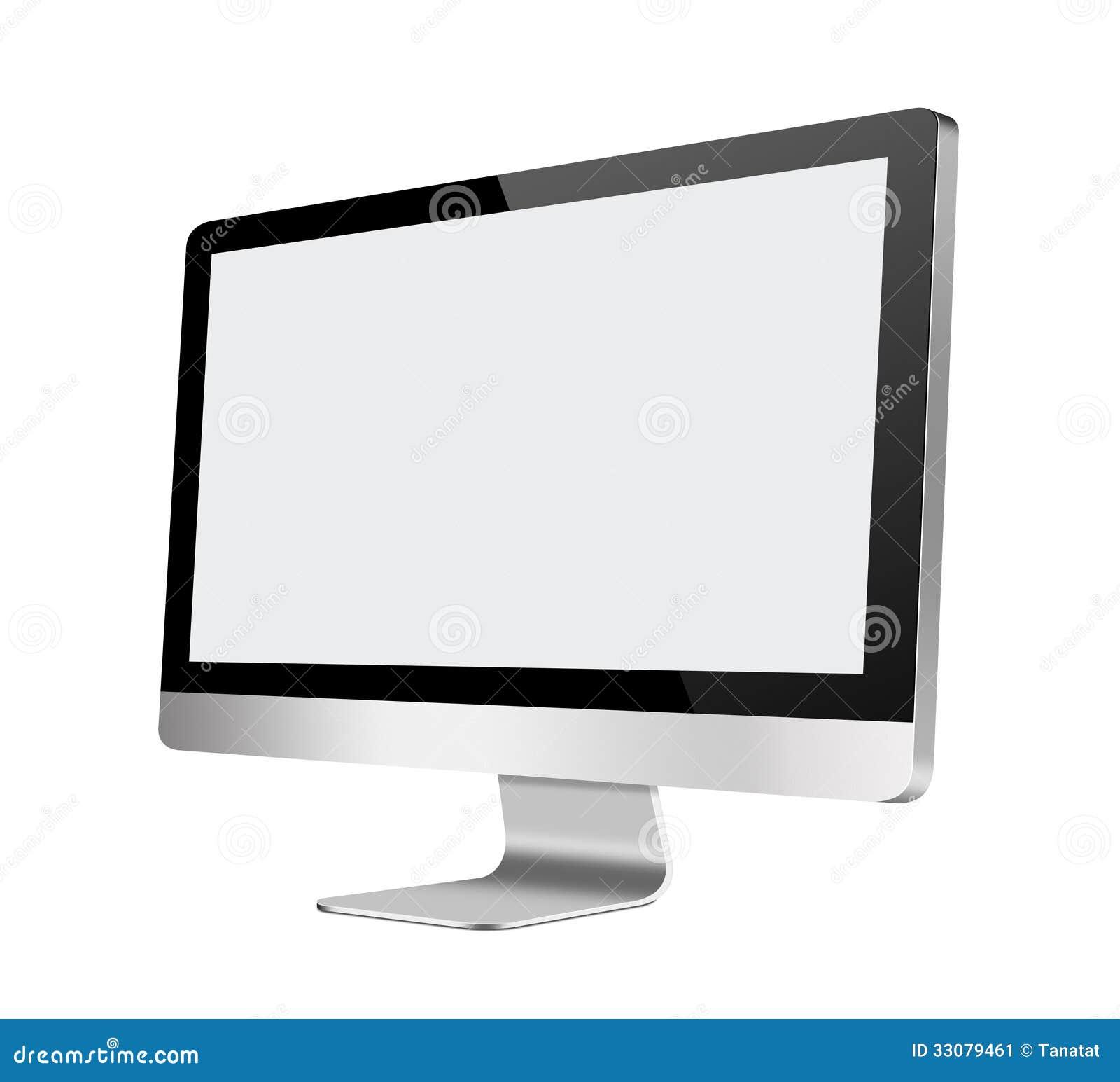 Monitor de computadora del LCD con la pantalla en blanco en blanco