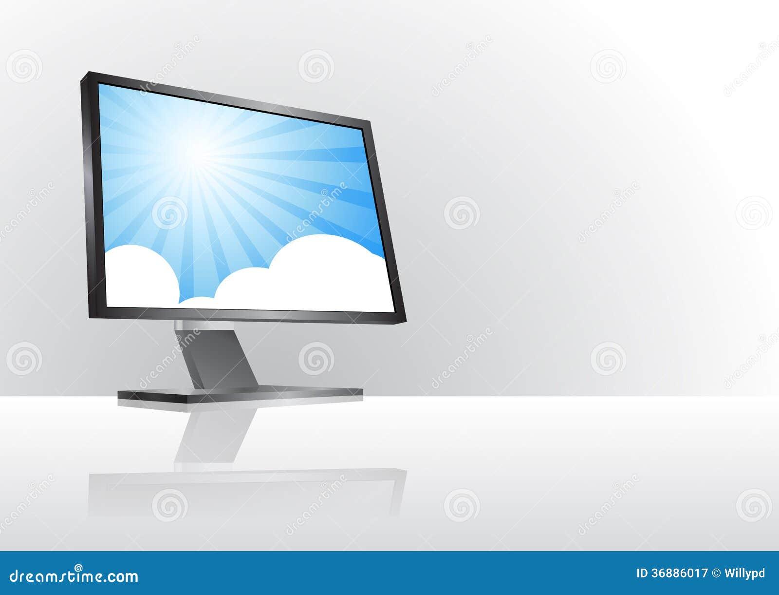 Download Monitor della nuvola illustrazione vettoriale. Illustrazione di servizio - 36886017