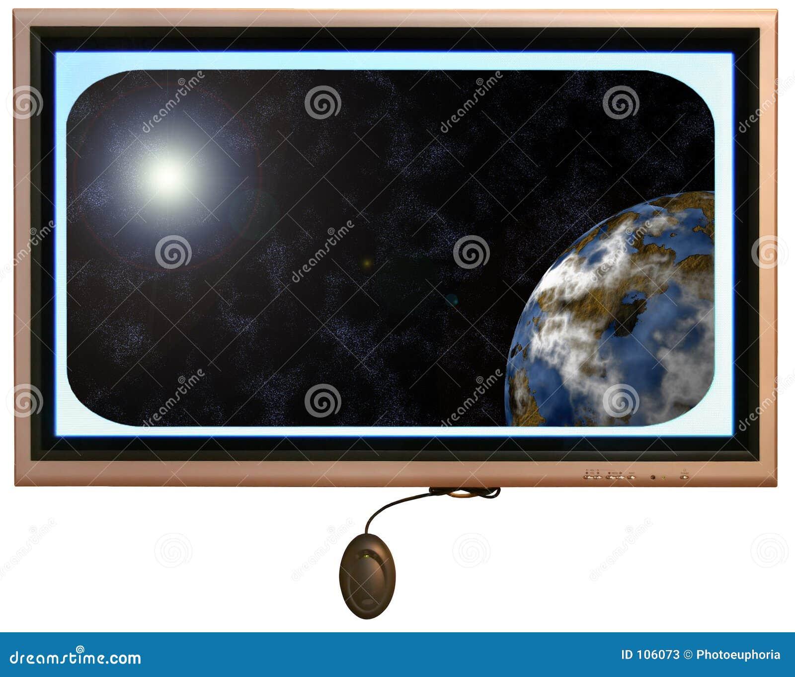 Monitor do écran plano com Sun e planeta no indicador