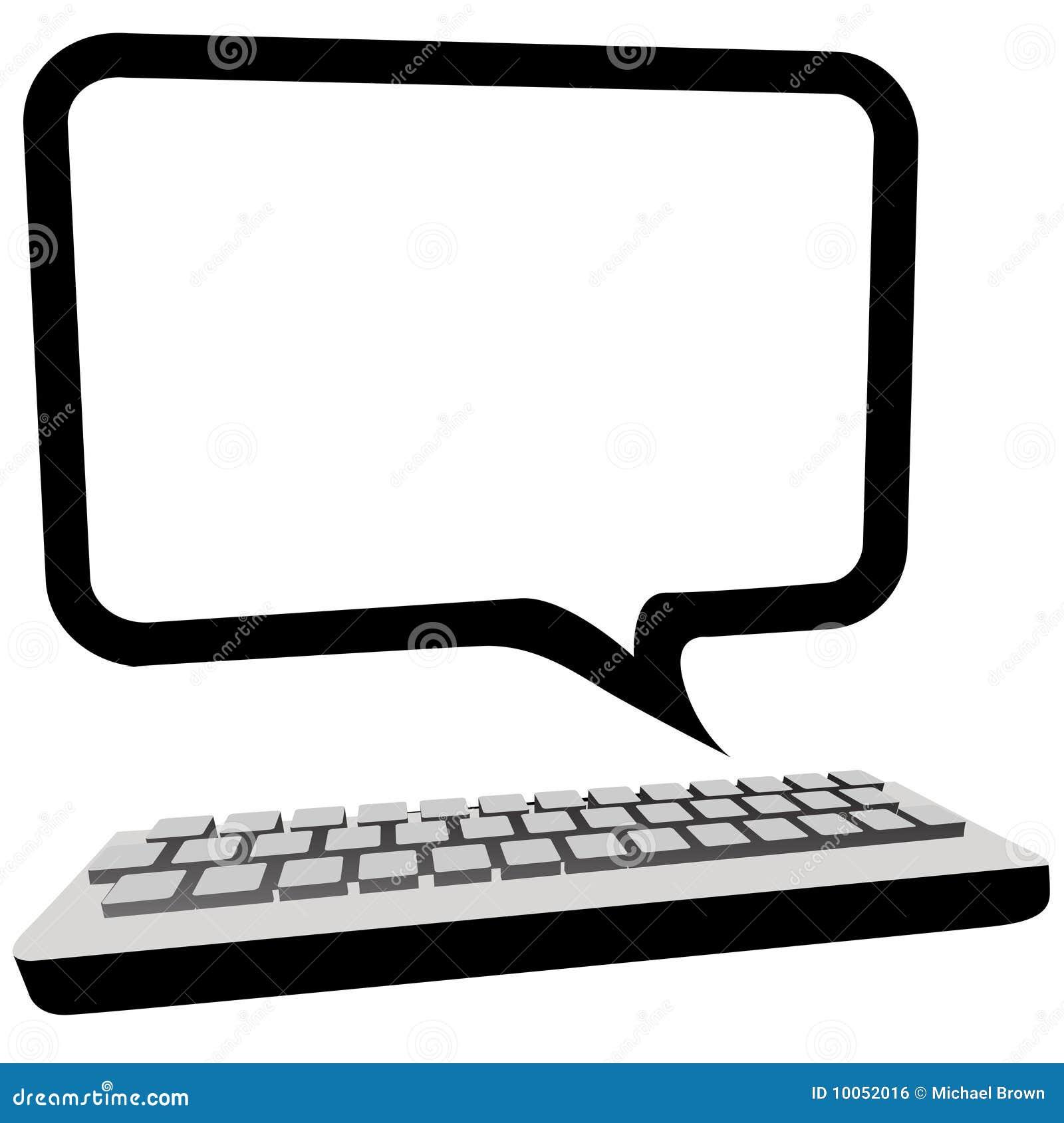 Monitor do computador de comunicação da bolha do discurso