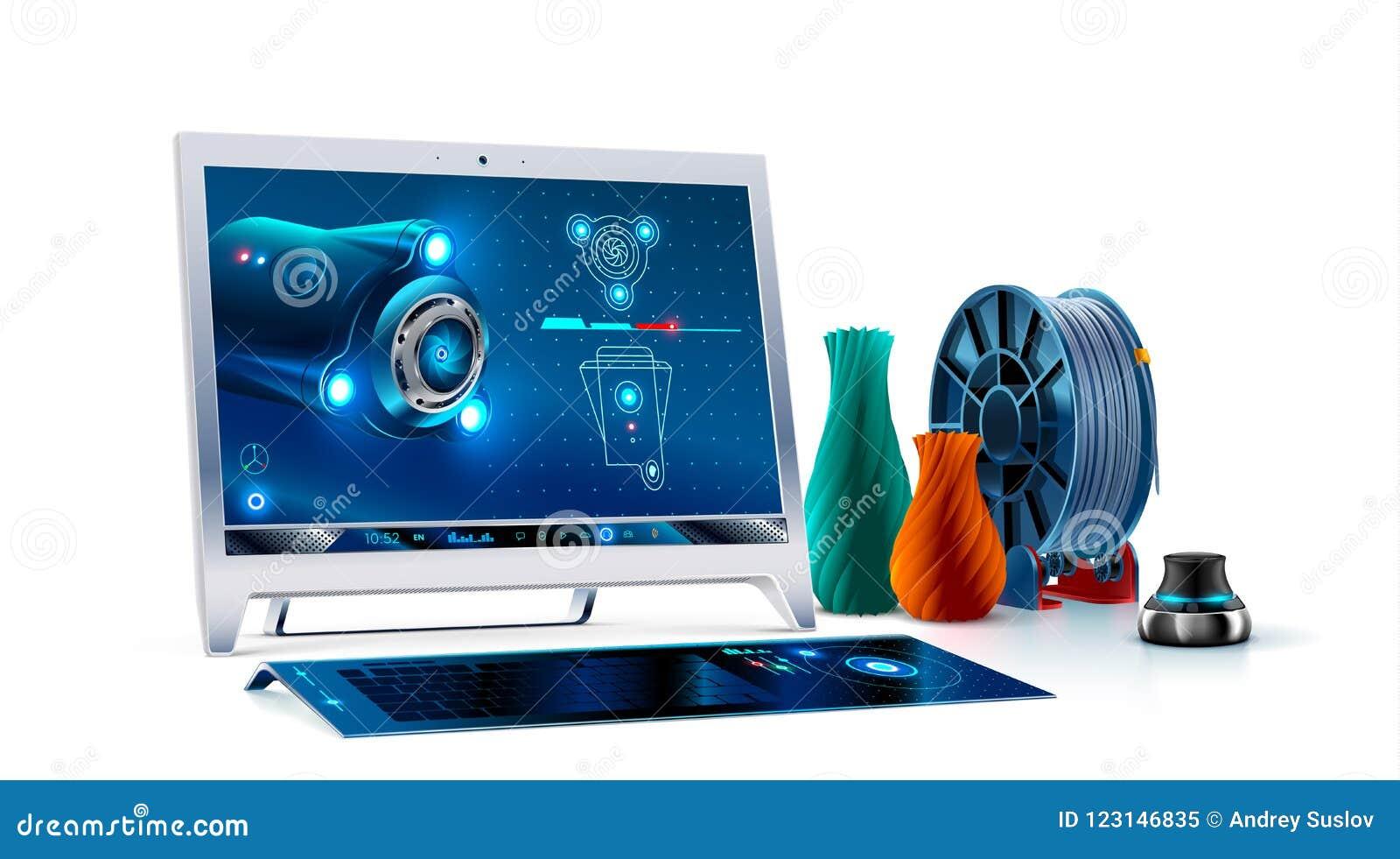 Monitor do computador de secretária com teclado e navegador 3d software de 3d cad no monoblock da tela modelagem 3d para a cópia