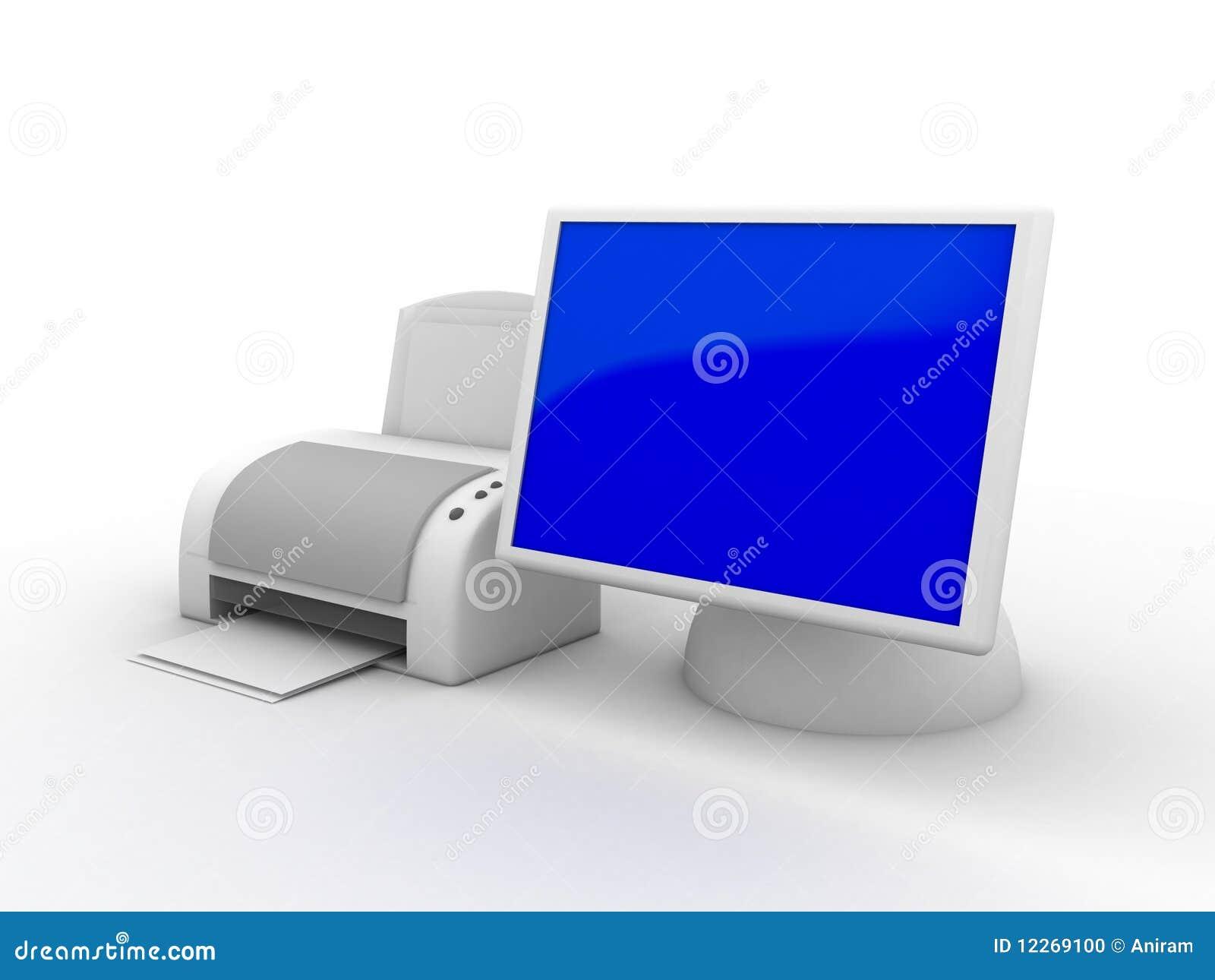 Monitor E Impresora Del Ordenador Stock de ilustración - Ilustración de  ordenador, impresora: 12269100