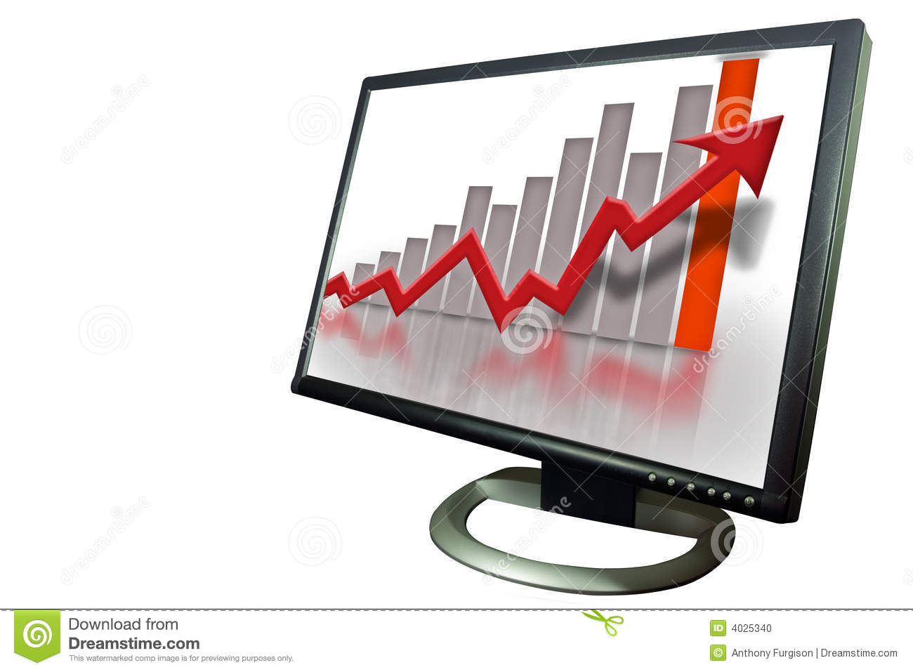 Monitor Financial Bar Graph Chart Stock Photo  Image  4025340