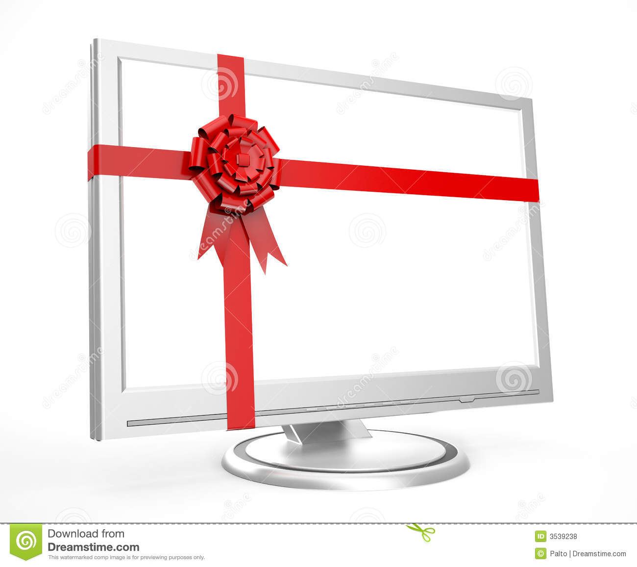 Monitor in a gift stock illustration. Illustration of open - 3539238