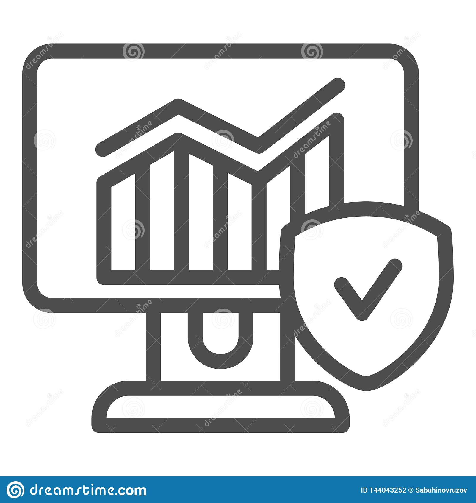 Monitor With Graph And Checkmark Line Icon Diagram On Computer Vector Illustration Isolated On White Verified Chart Stock Vector Illustration Of Chart Electronic 144043252