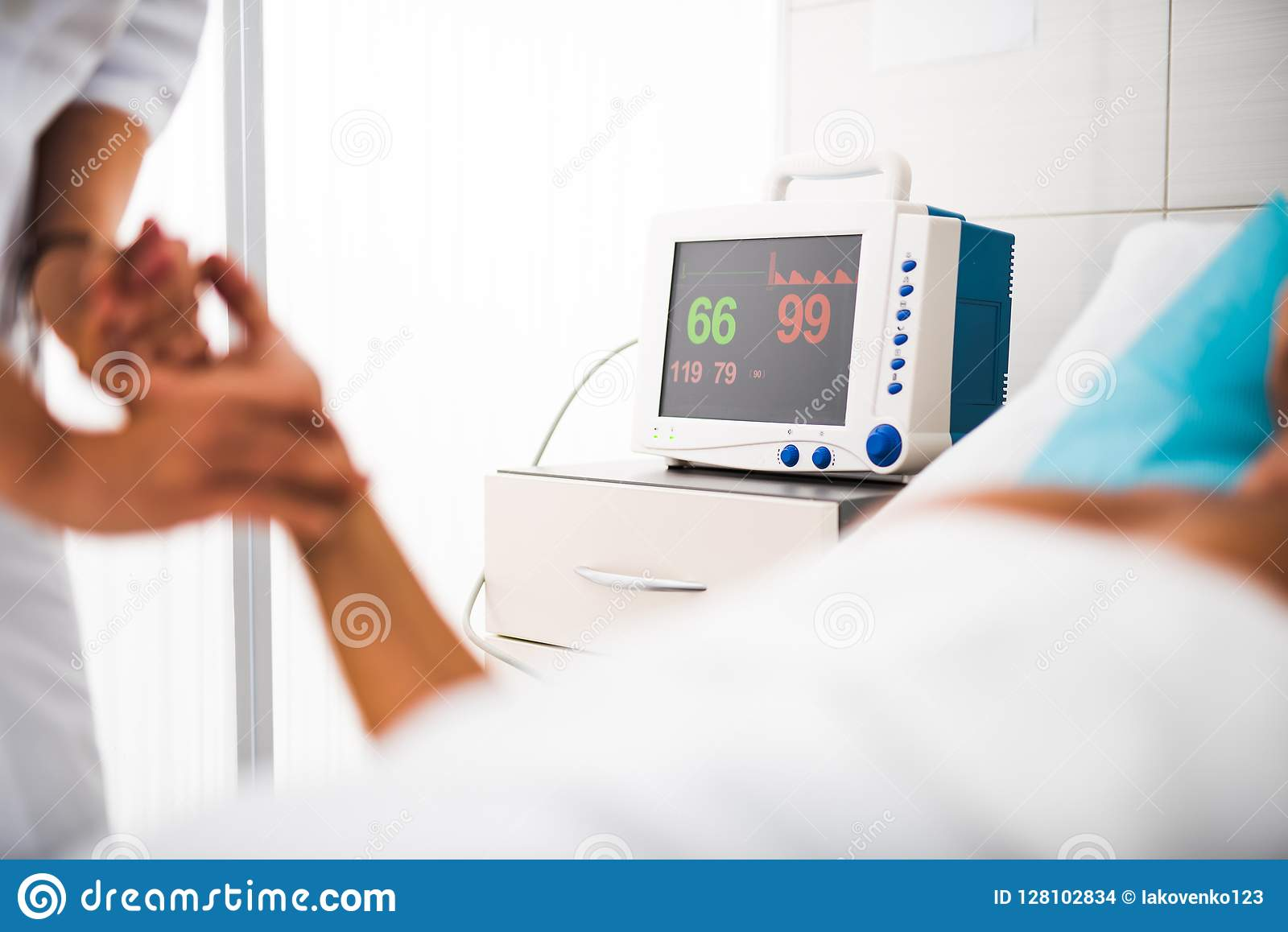 Monitor Of Heart Rate Measuring Equipment In Hospital Room ...