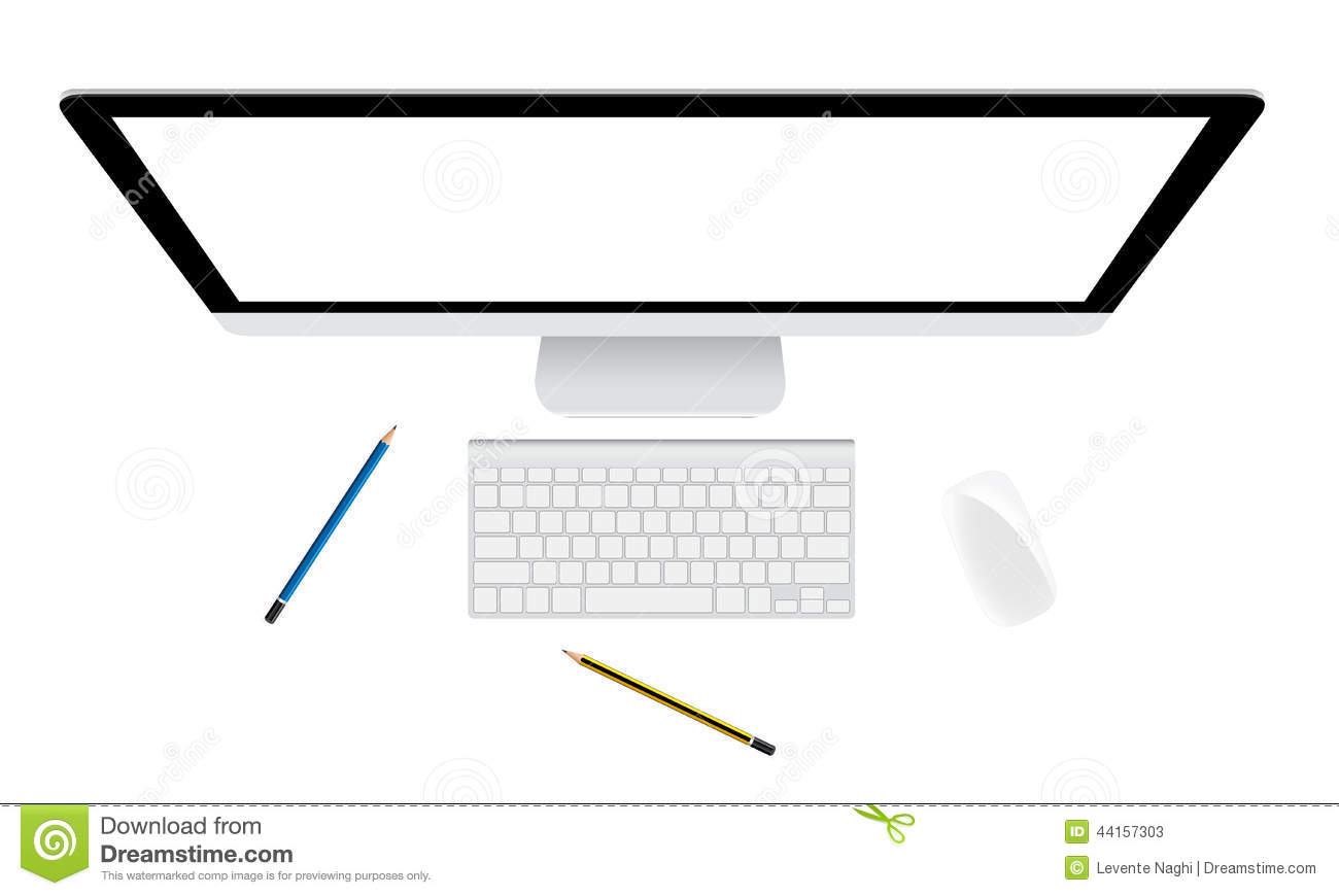 Monitor And Keyboard Stock Illustration - Image: 44157303