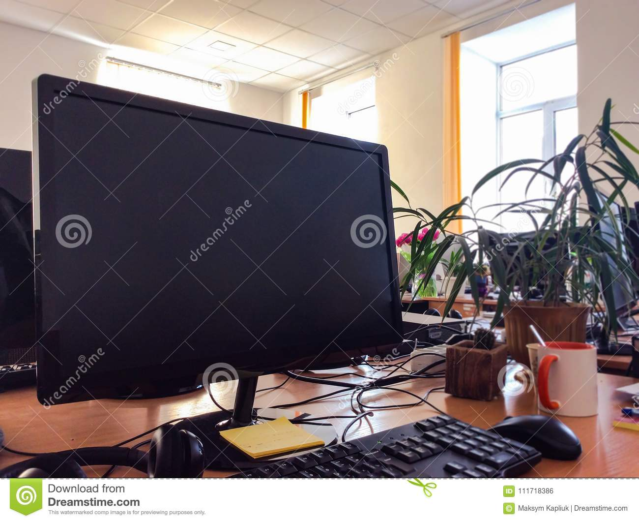 Monitor with keyboard on wooden table with cup of coffee and green plants