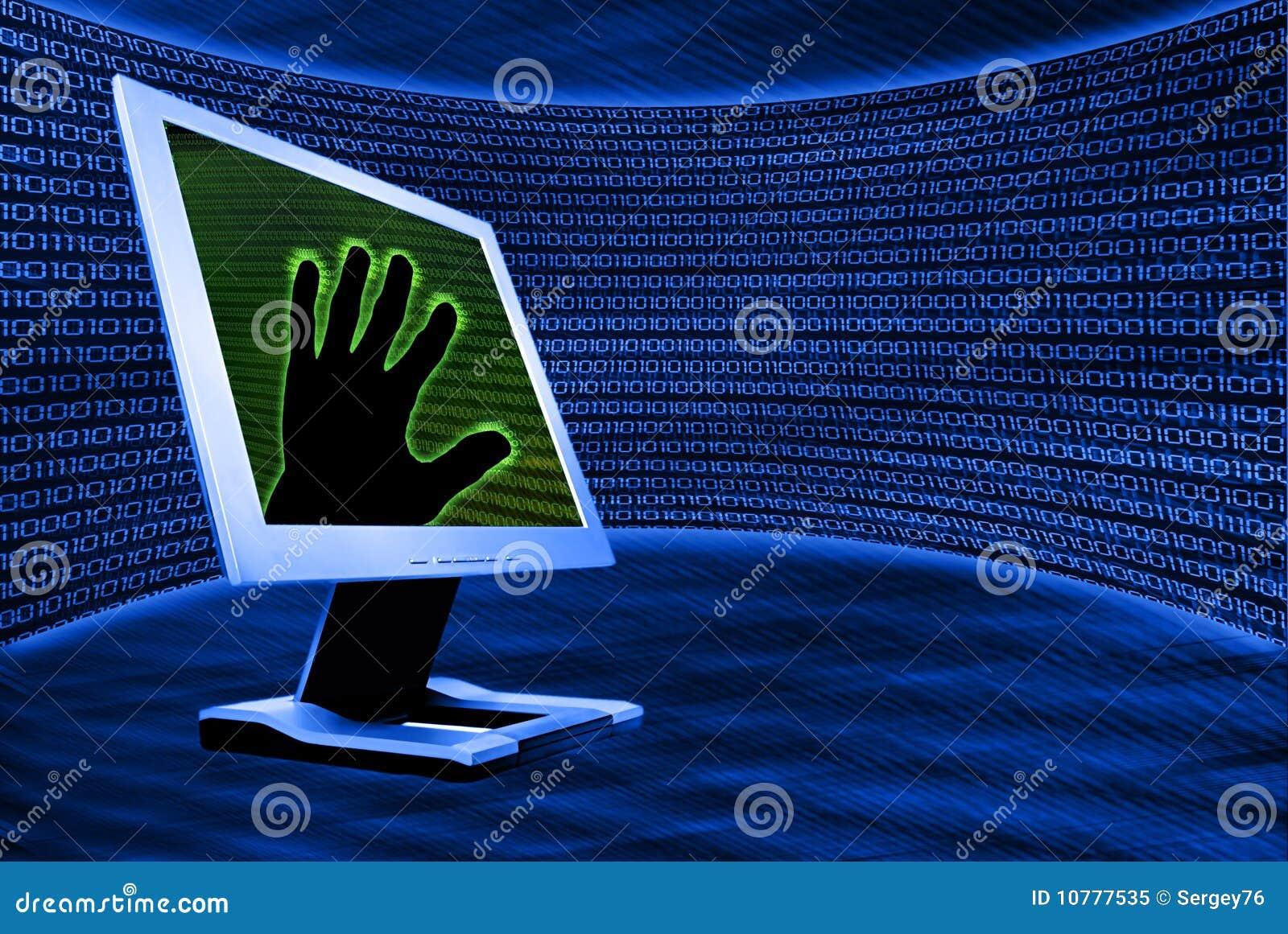 Monitor met hand