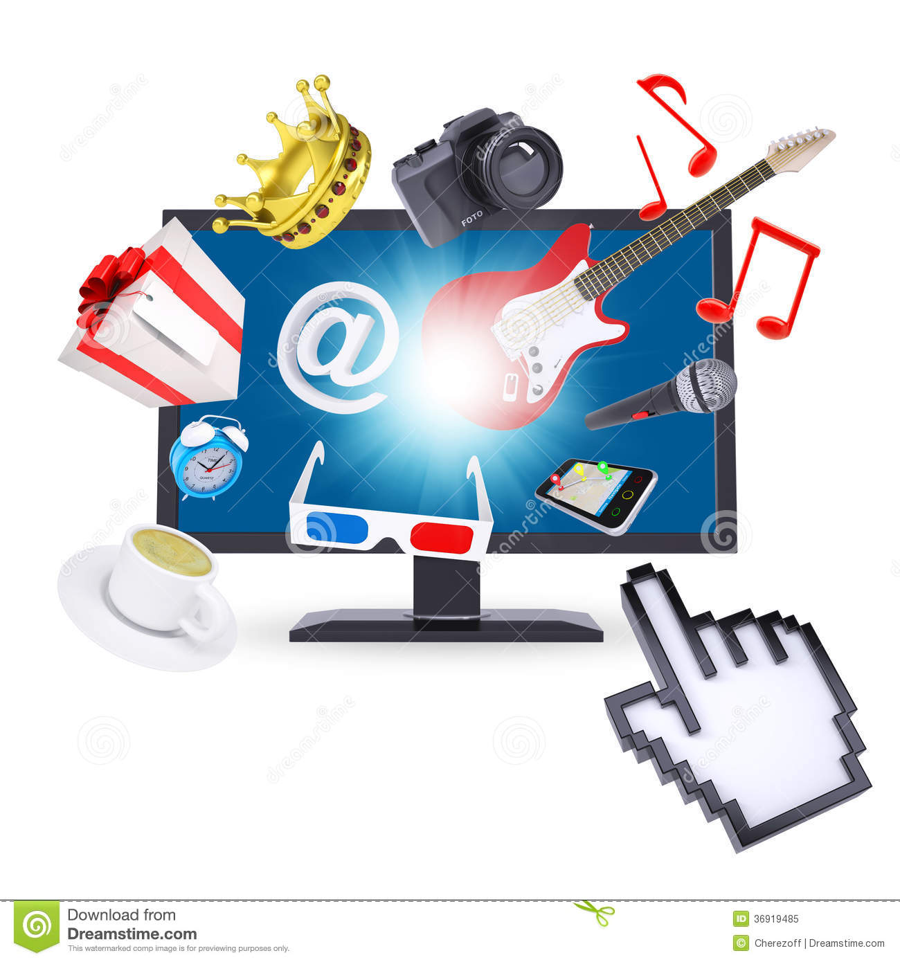 Monitor And Multimedia Objects Royalty Free Stock Photo ...