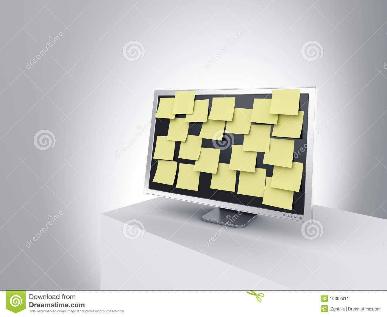 monitor on a podium with post it notes stock image image 10302611. Black Bedroom Furniture Sets. Home Design Ideas