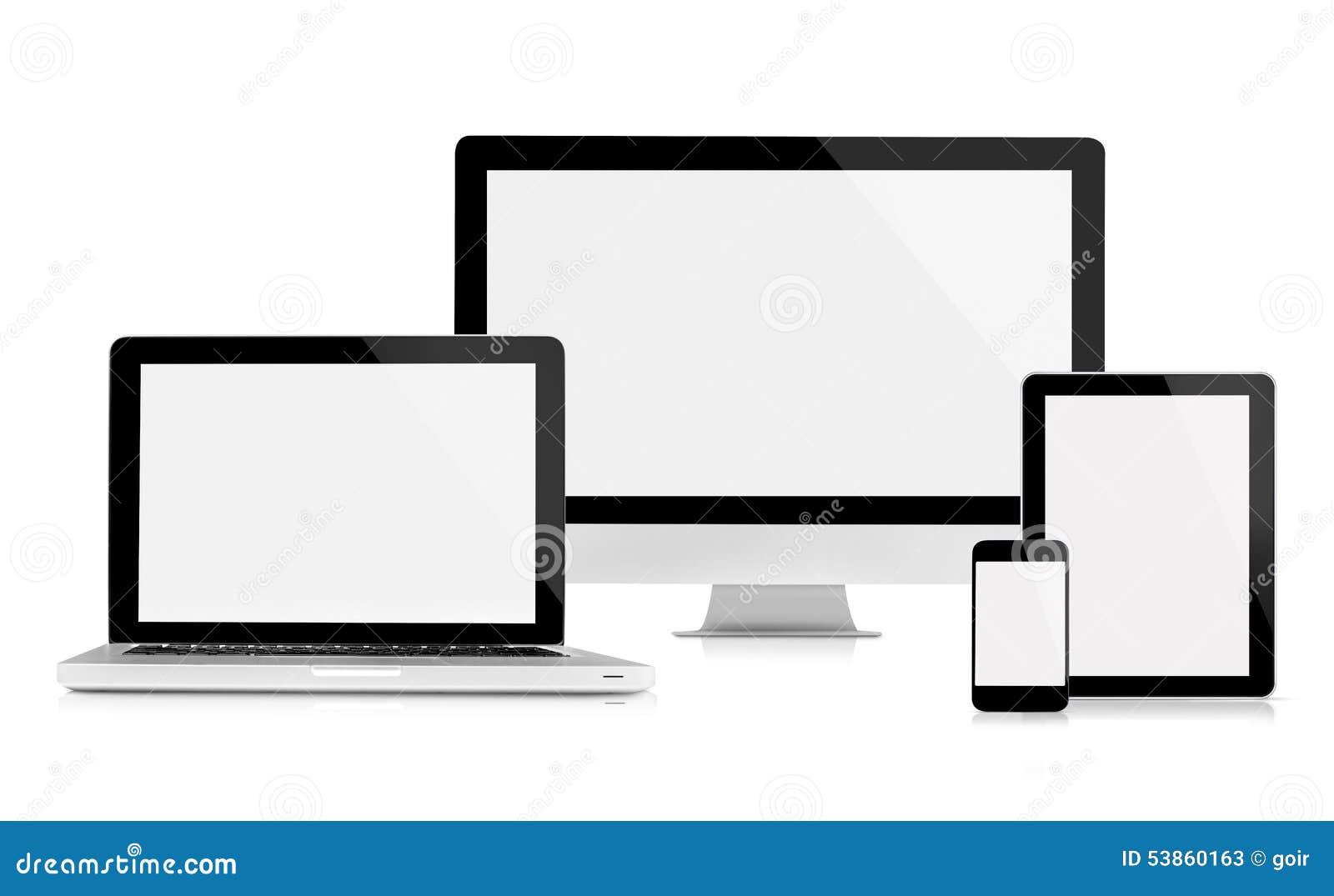 Monitor, portátil, tabuleta e telefone celular do computador